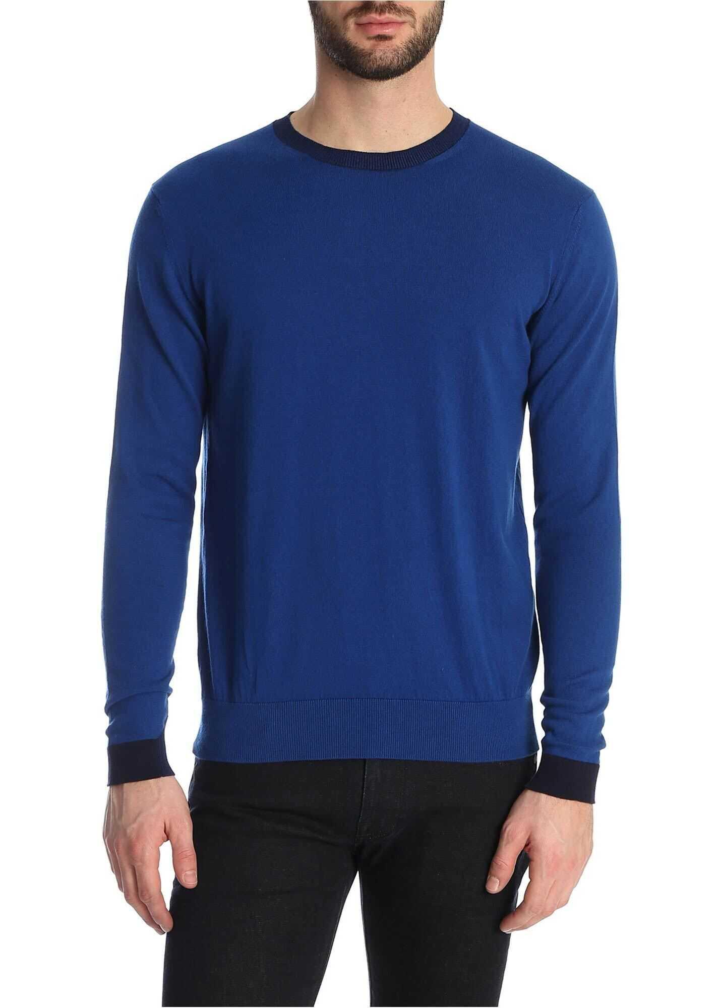 ETRO Crewneck Sweater In Bluette Cotton Blue imagine
