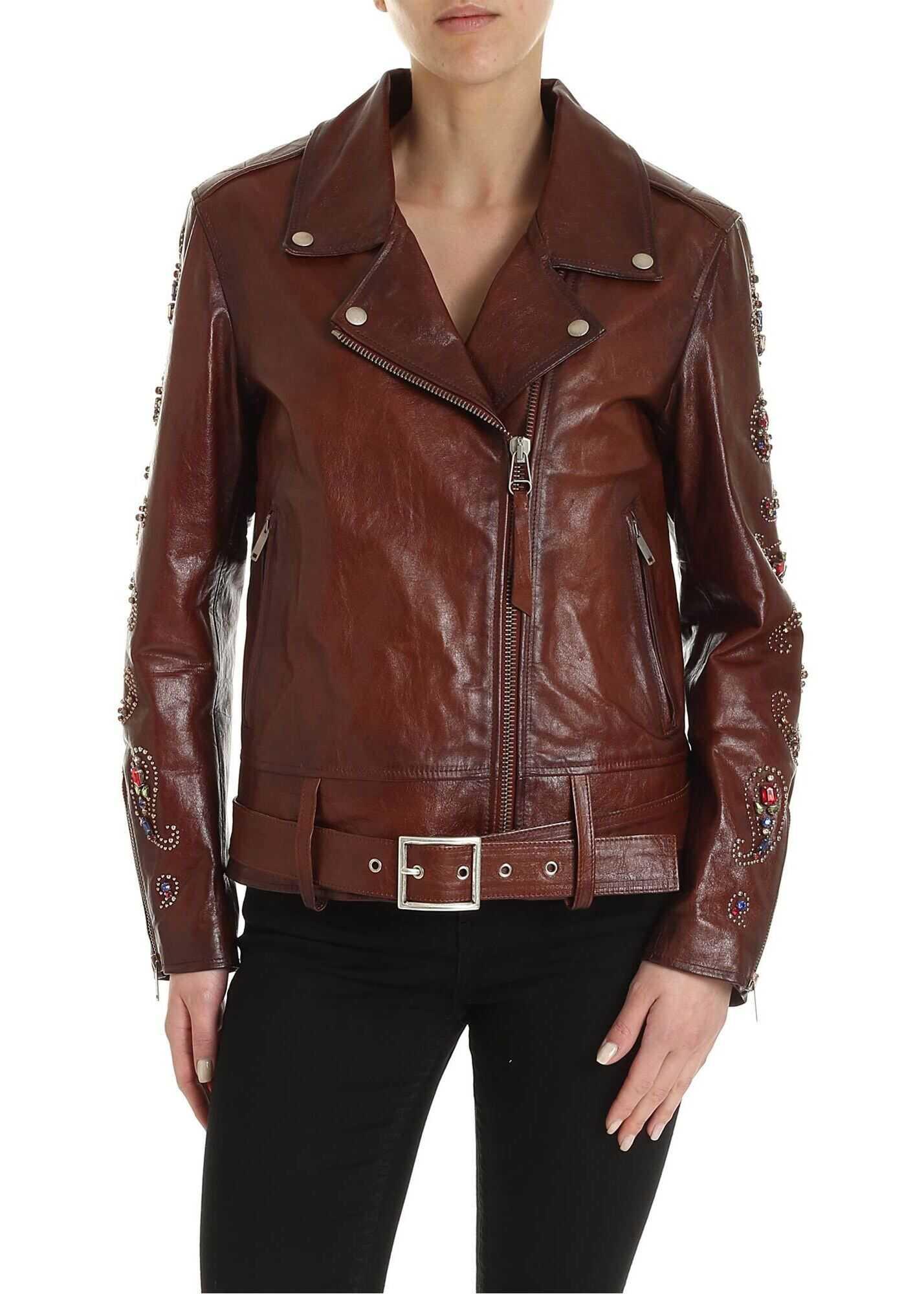 Golden Goose Victoria Biker Jacket In Dark Brown Brown