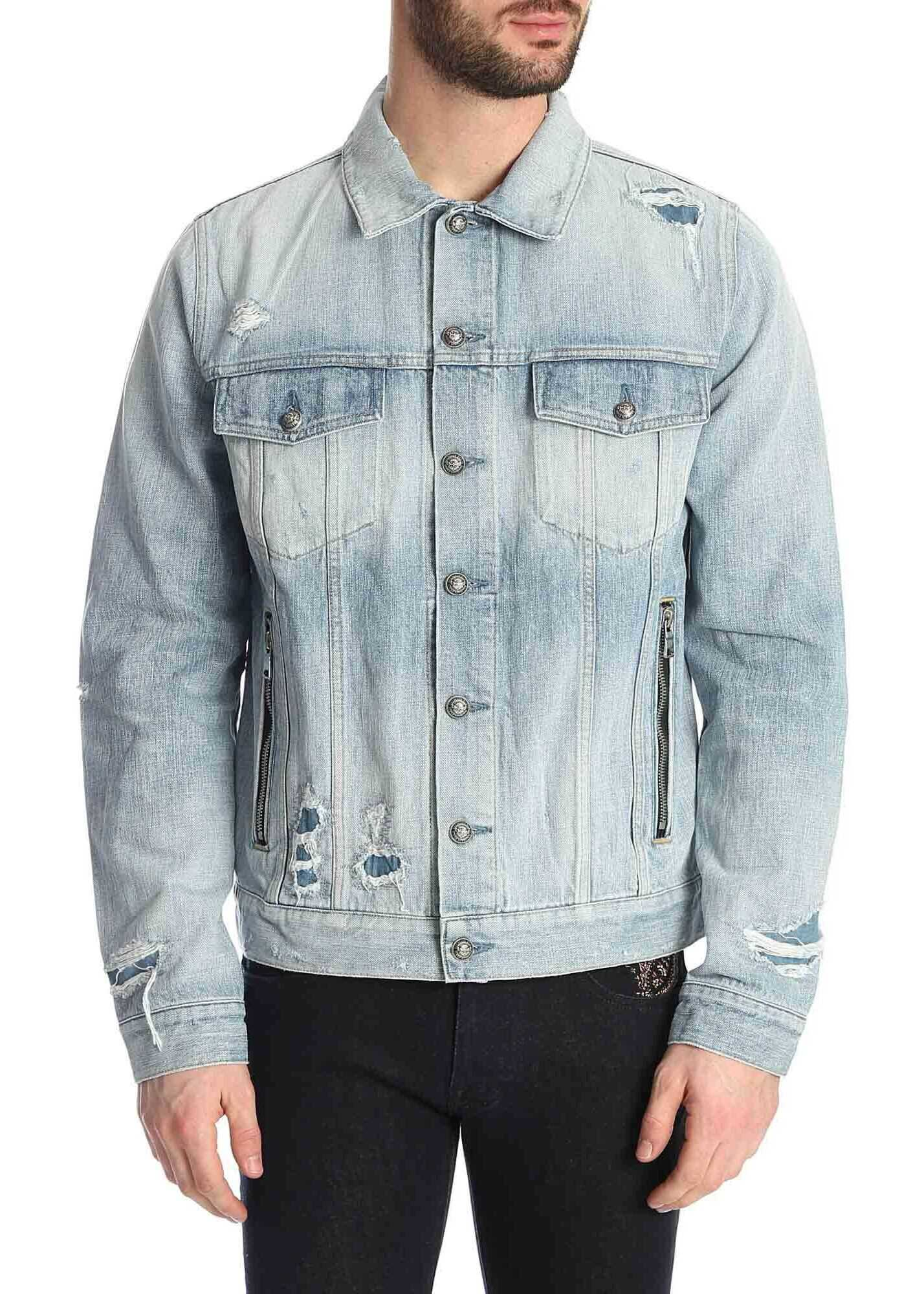 Balmain Destroy Denim Jacket In Light Blue Light Blue