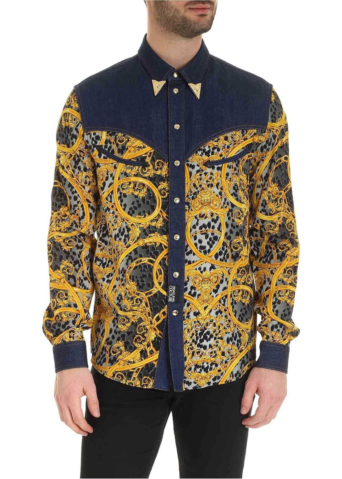 Baroque Print Shirt With Denim Yoke thumbnail