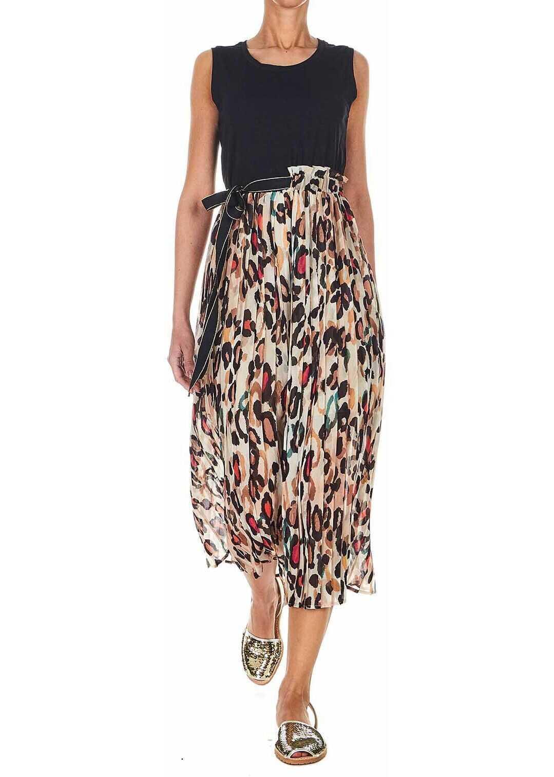Liu Jo Accordion dress with floral print Black