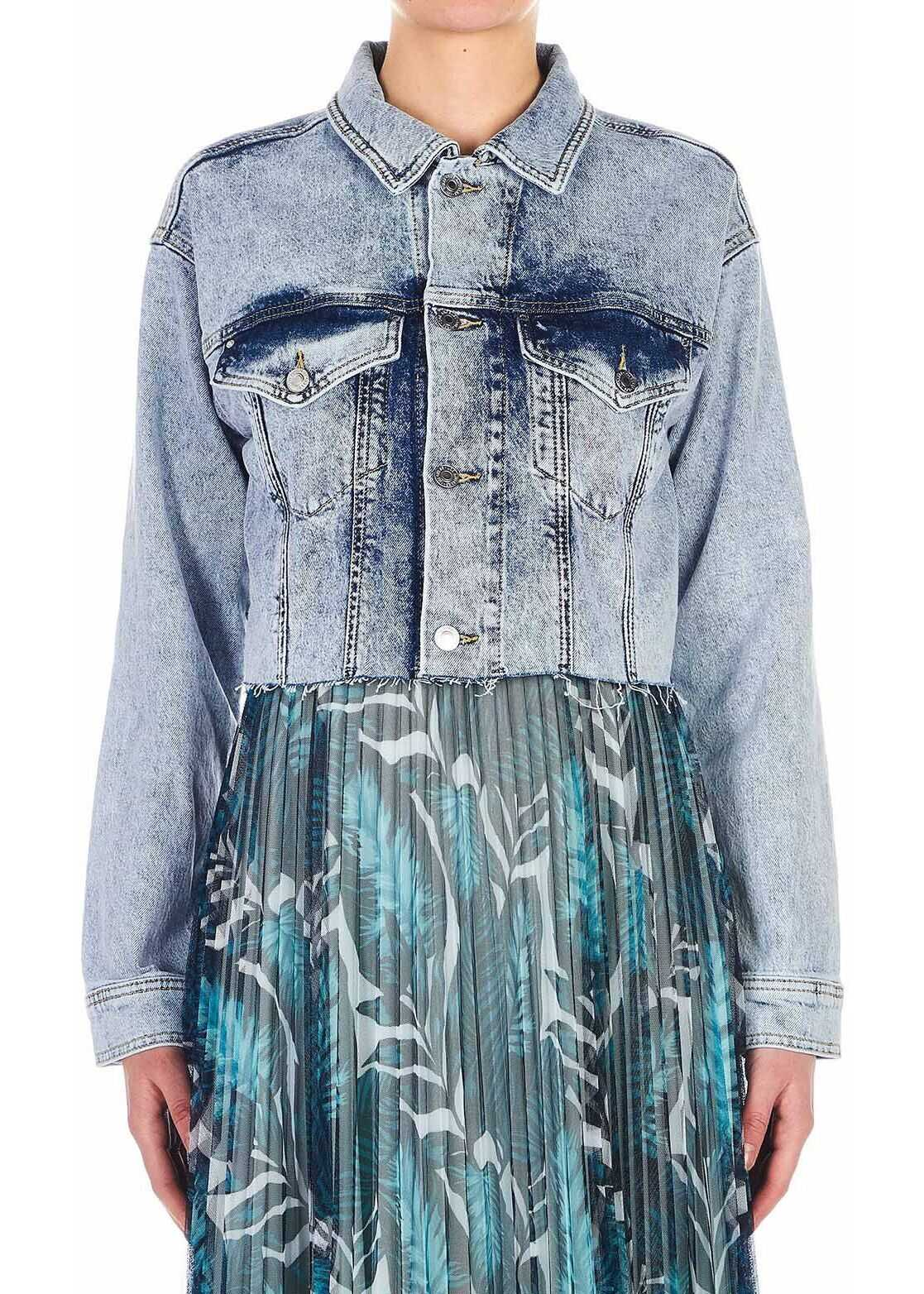 GUESS Cropped denim jacket Blue