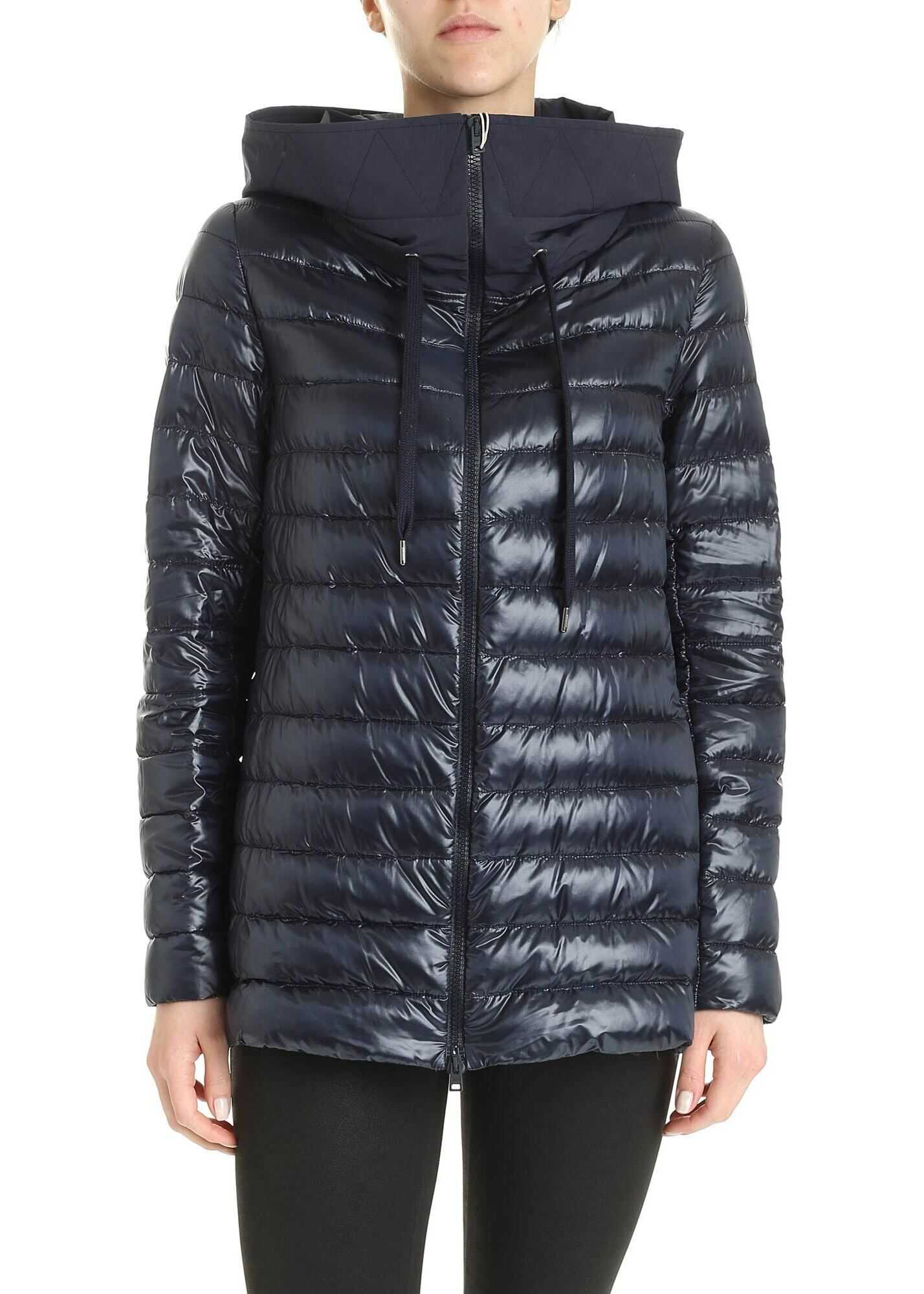 Herno Blue Down Jacket With Hood Blue
