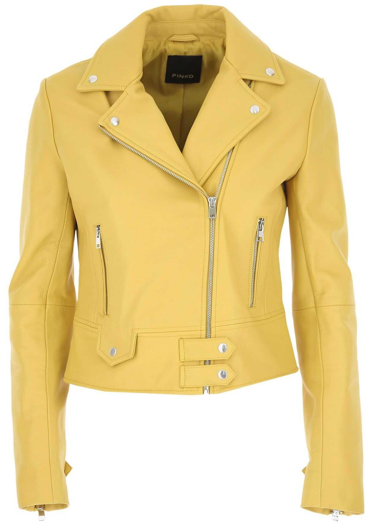 Pinko Leather Outerwear Jacket YELLOW