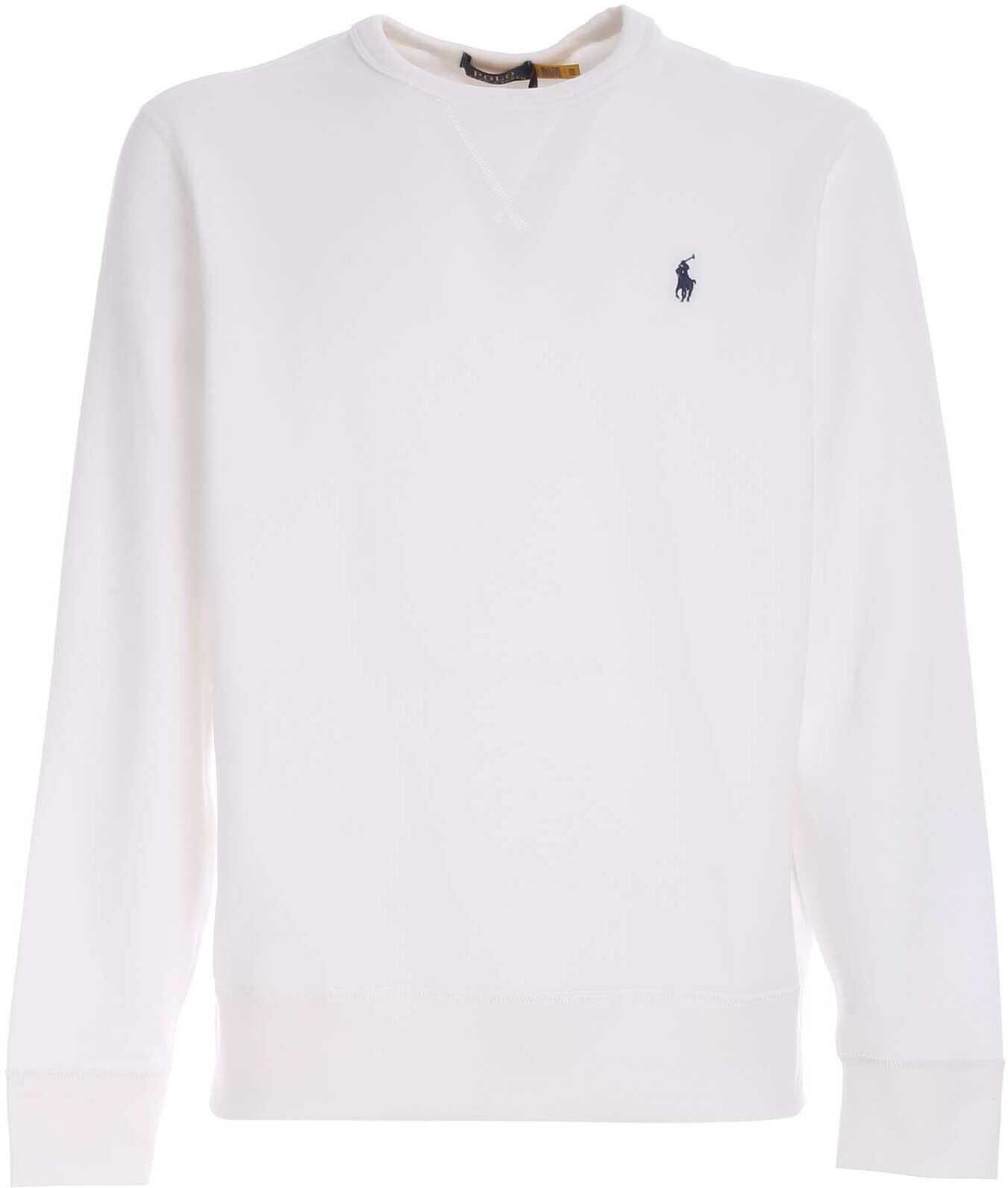 Ralph Lauren Sweatshirt In White With Blue Logo Embroidery White imagine