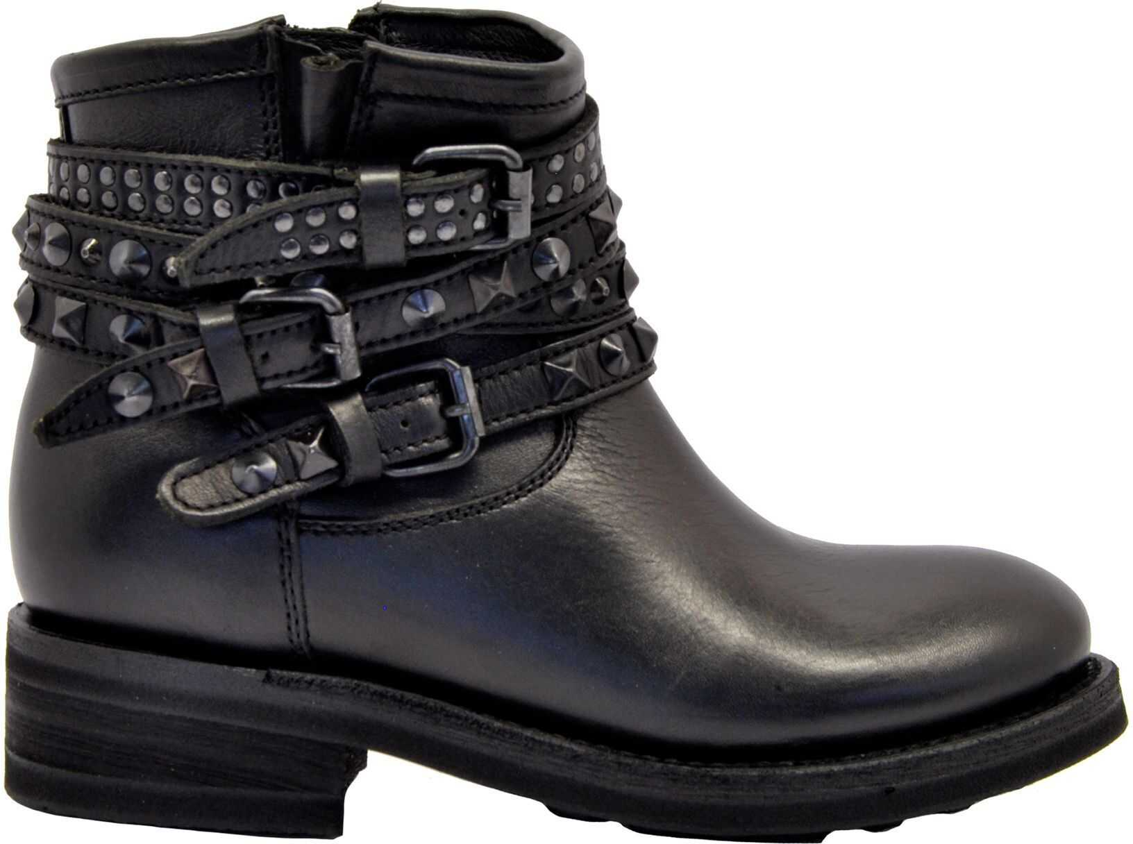 ASH Leather Ankle Boots BLACK