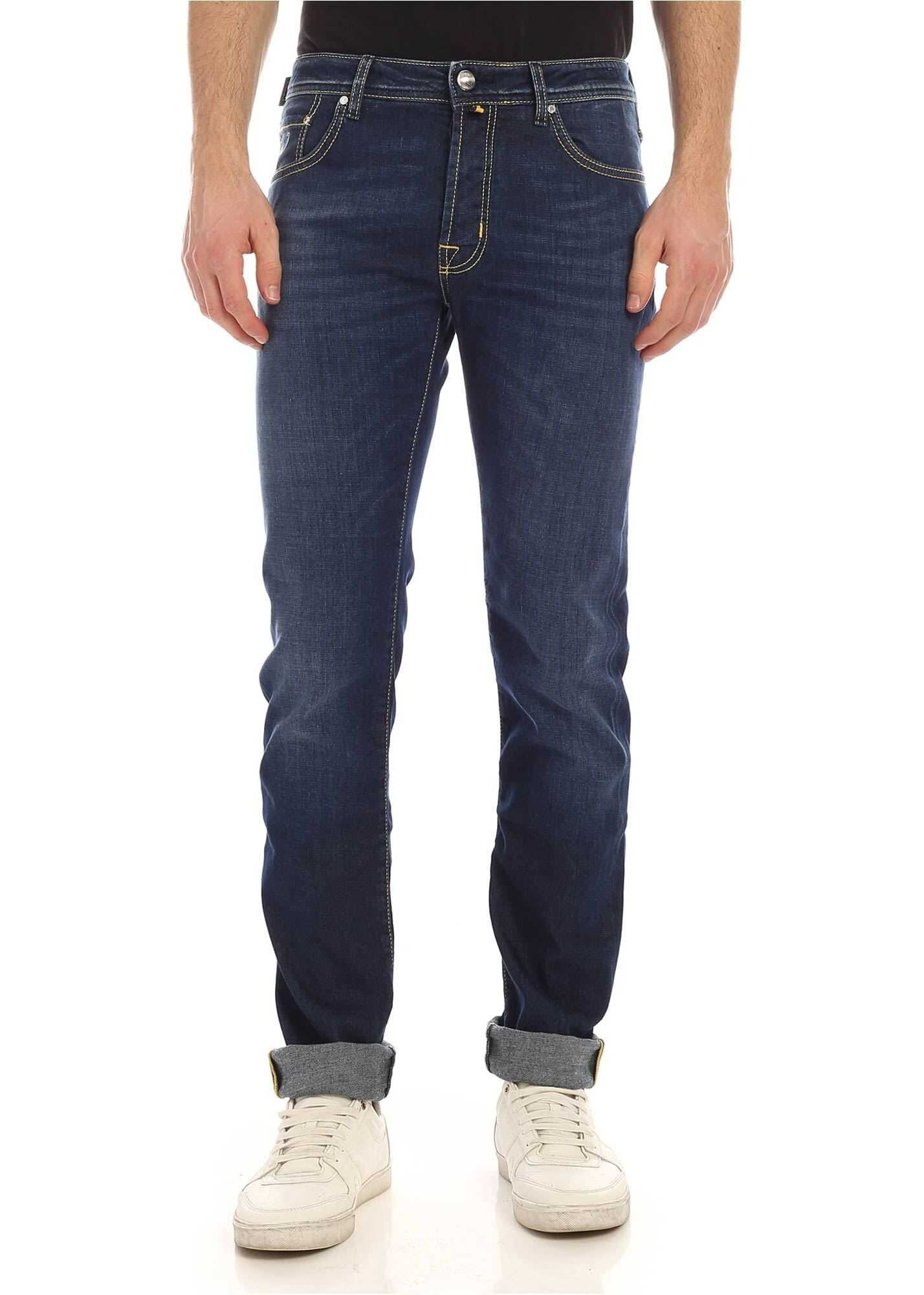 Jacob Cohen Yellow Logo Label Jeans In Blue Blue imagine
