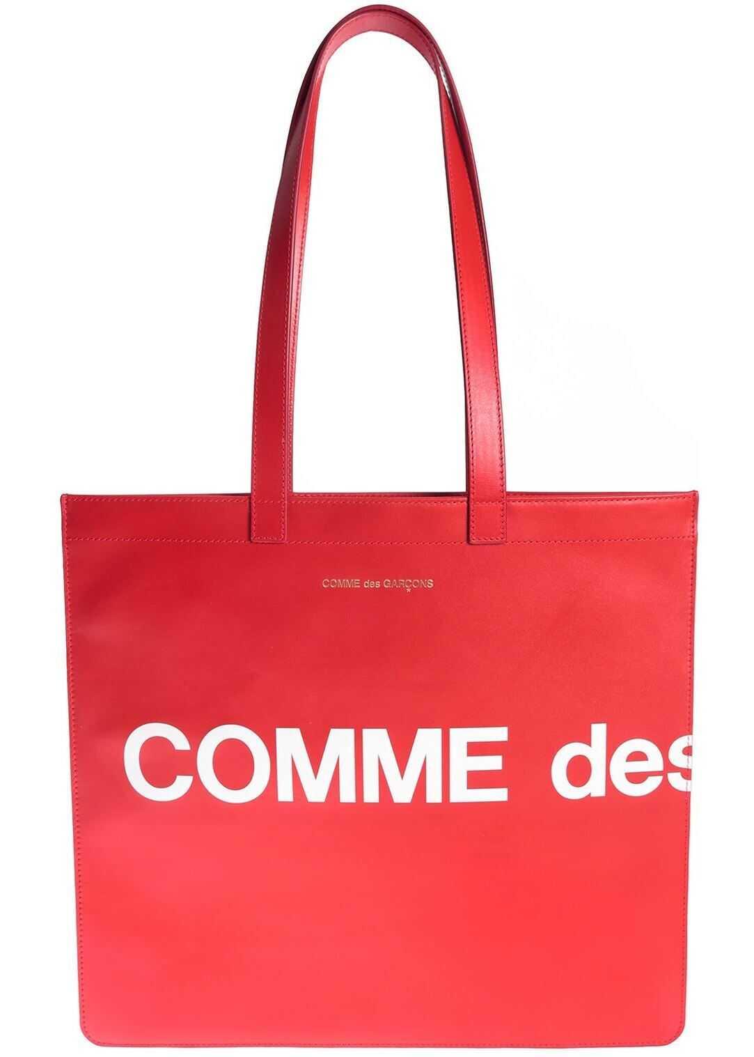 Comme des Garçons Macro Logo Shopping Bag In Red Red