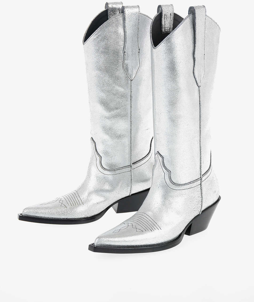 Maison Margiela MM22 metallic Leather Texan Boots SILVER imagine b-mall.ro