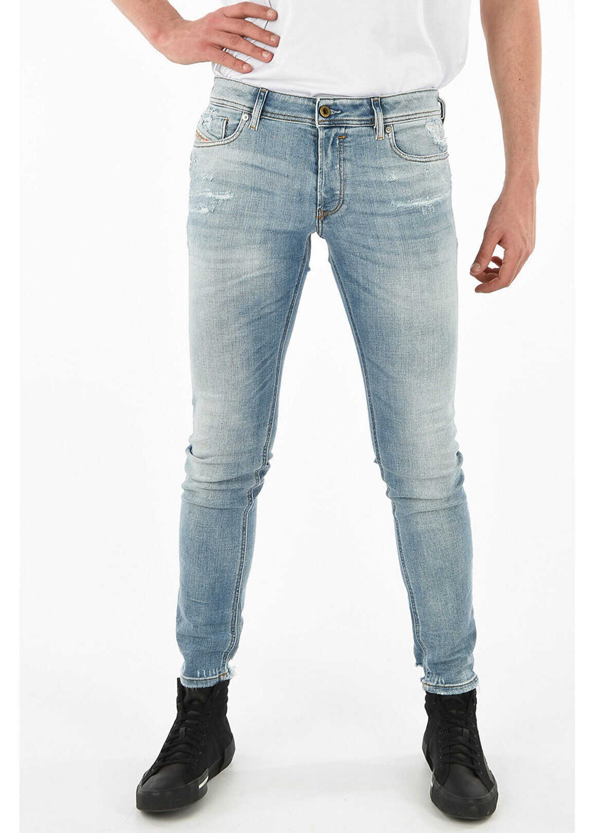 Diesel Distressed SLEENKER L.32 15cm Jeans BLUE imagine