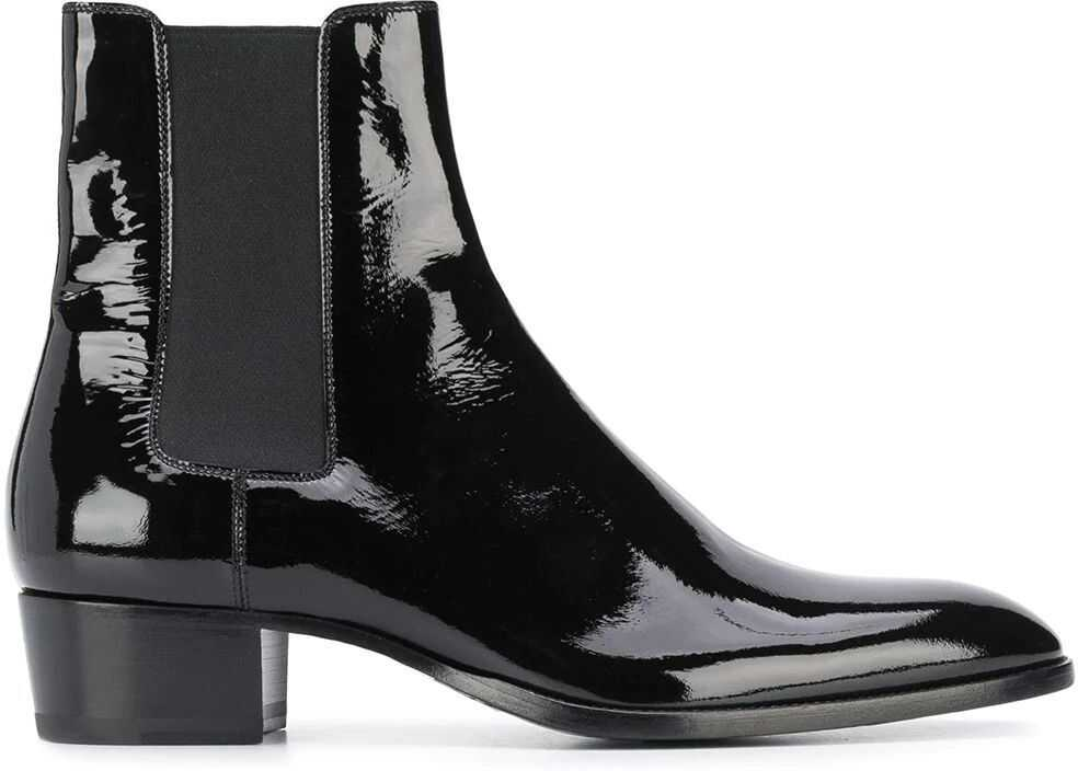 Saint Laurent Leather Ankle Boots BLACK
