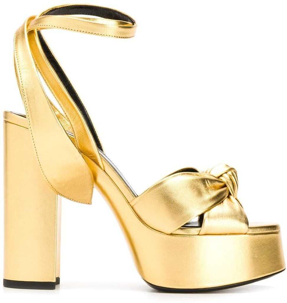 Saint Laurent Leather Sandals GOLD