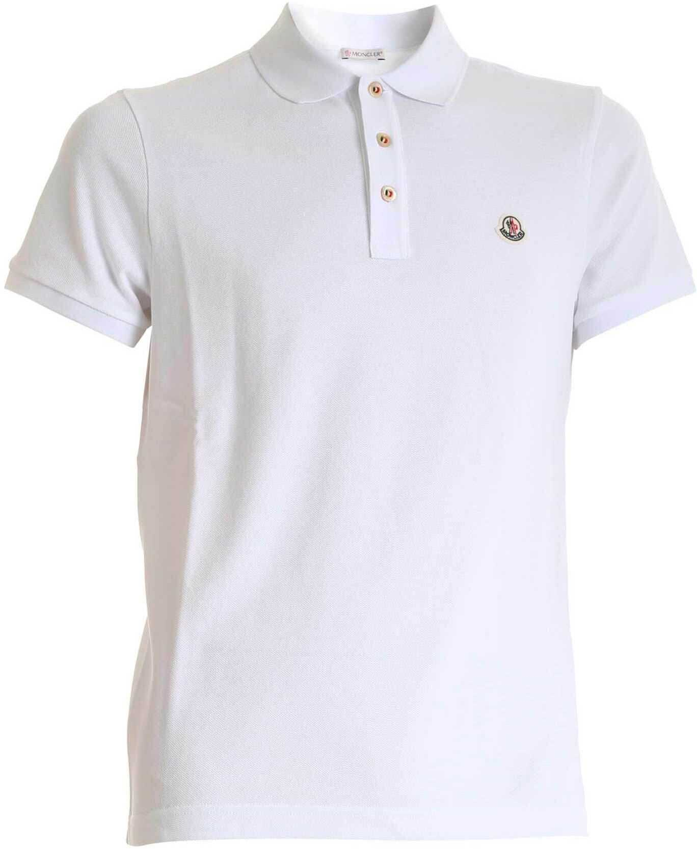 Moncler Polo Shirt In White With Logo Patch White imagine