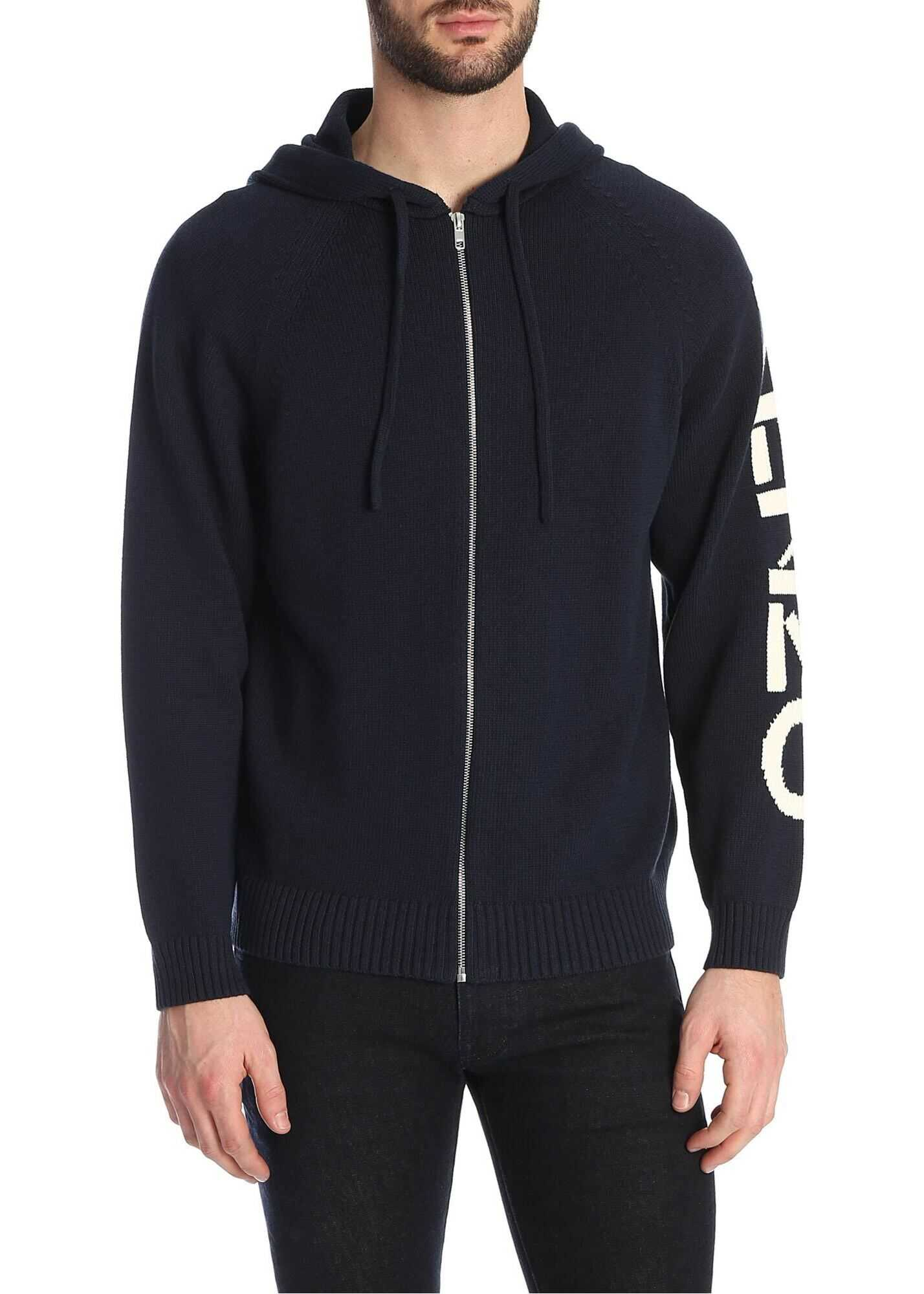 Kenzo Blue Cotton Blend Hoodie Blue