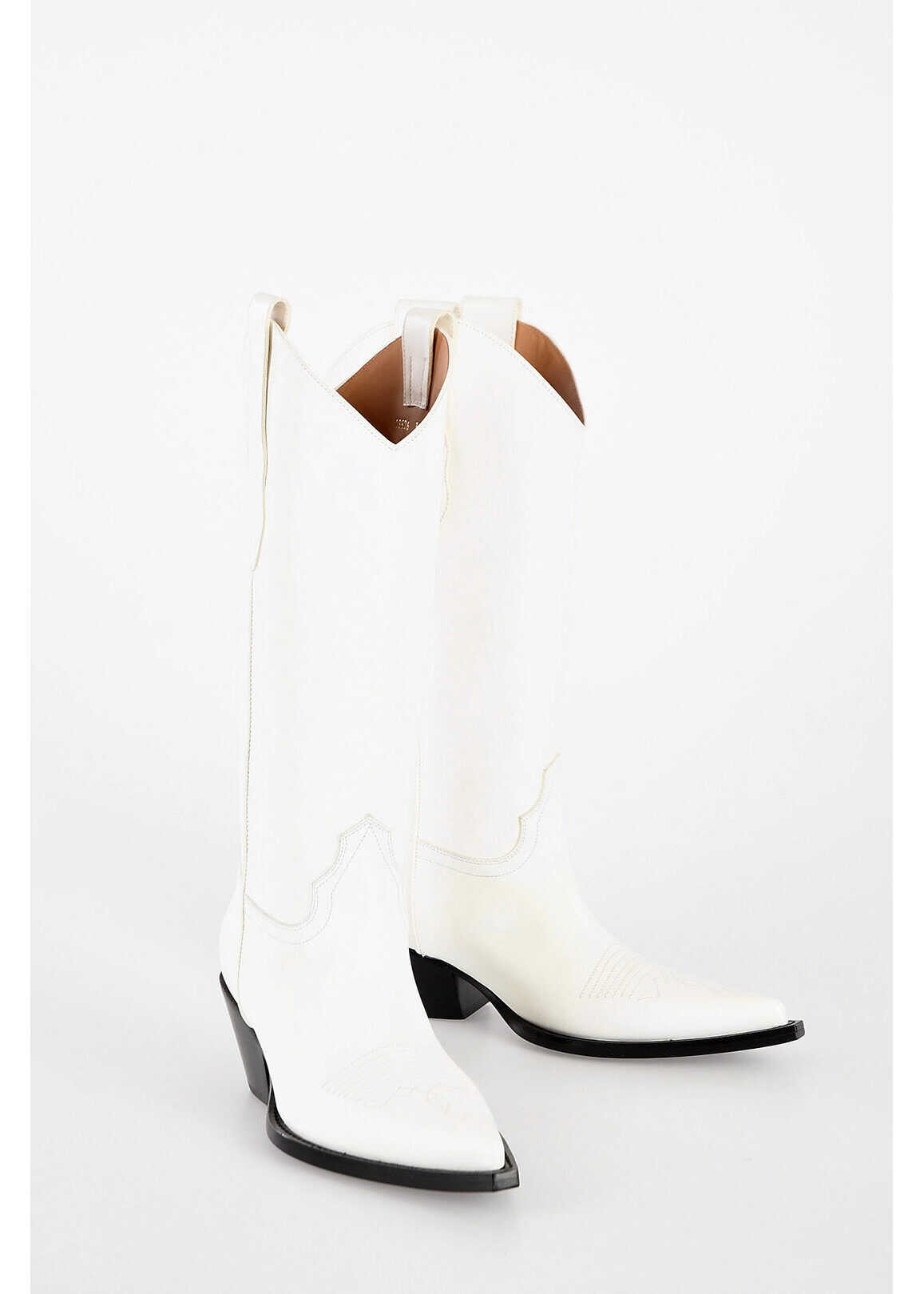 Maison Margiela MM22 Leather Texano Boots WHITE