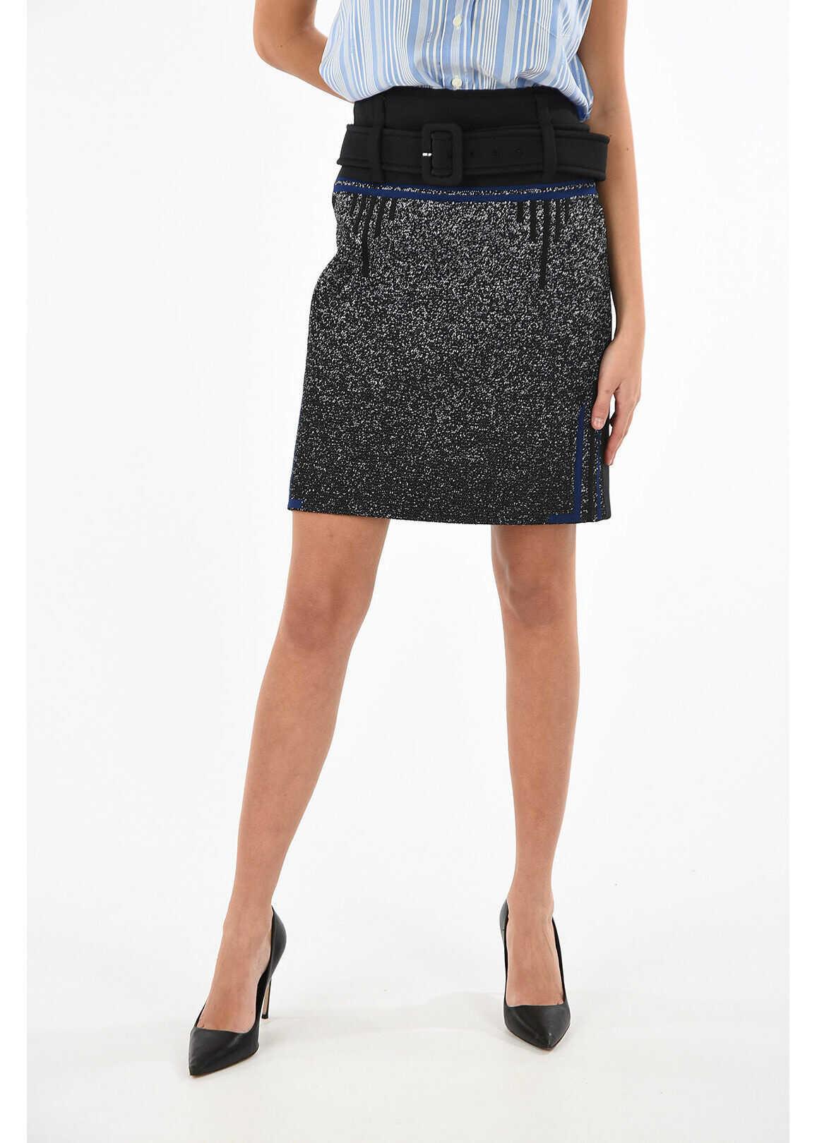 Prada split-back hem jacquard moulin midi a-line skirt BLACK