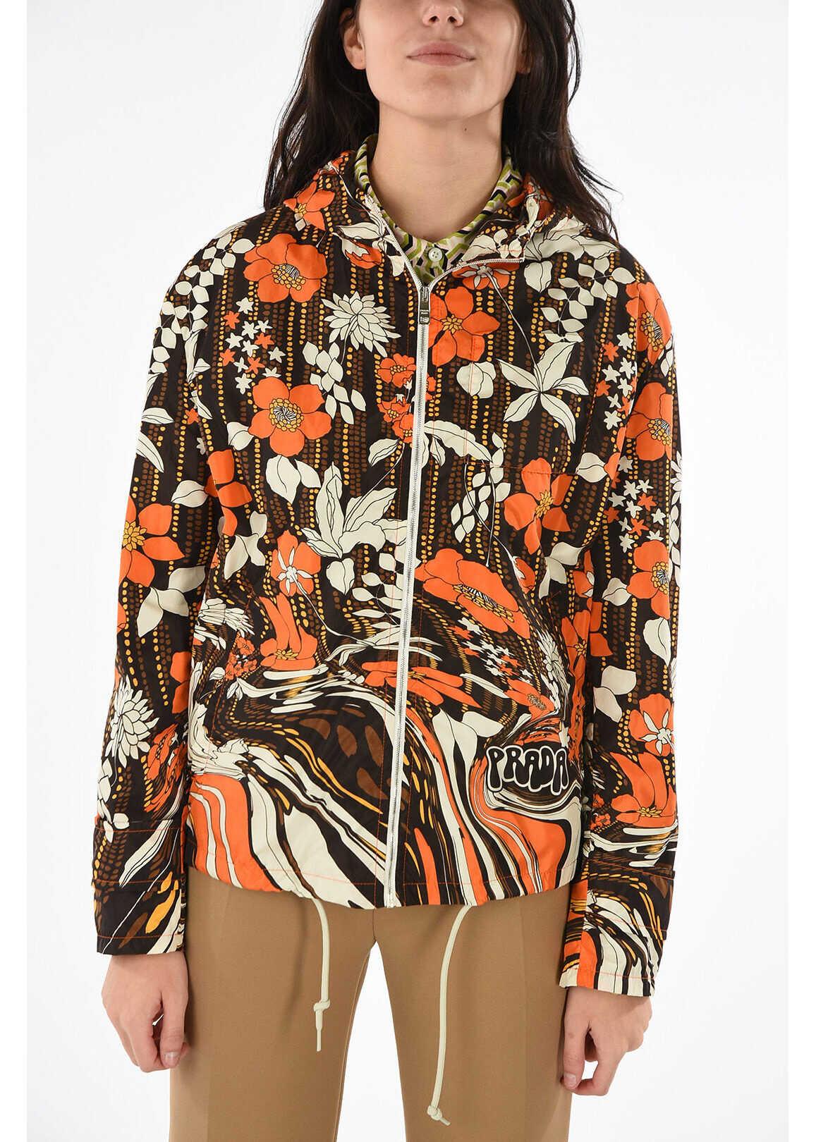 Prada full zip hooded outerwear MULTICOLOR