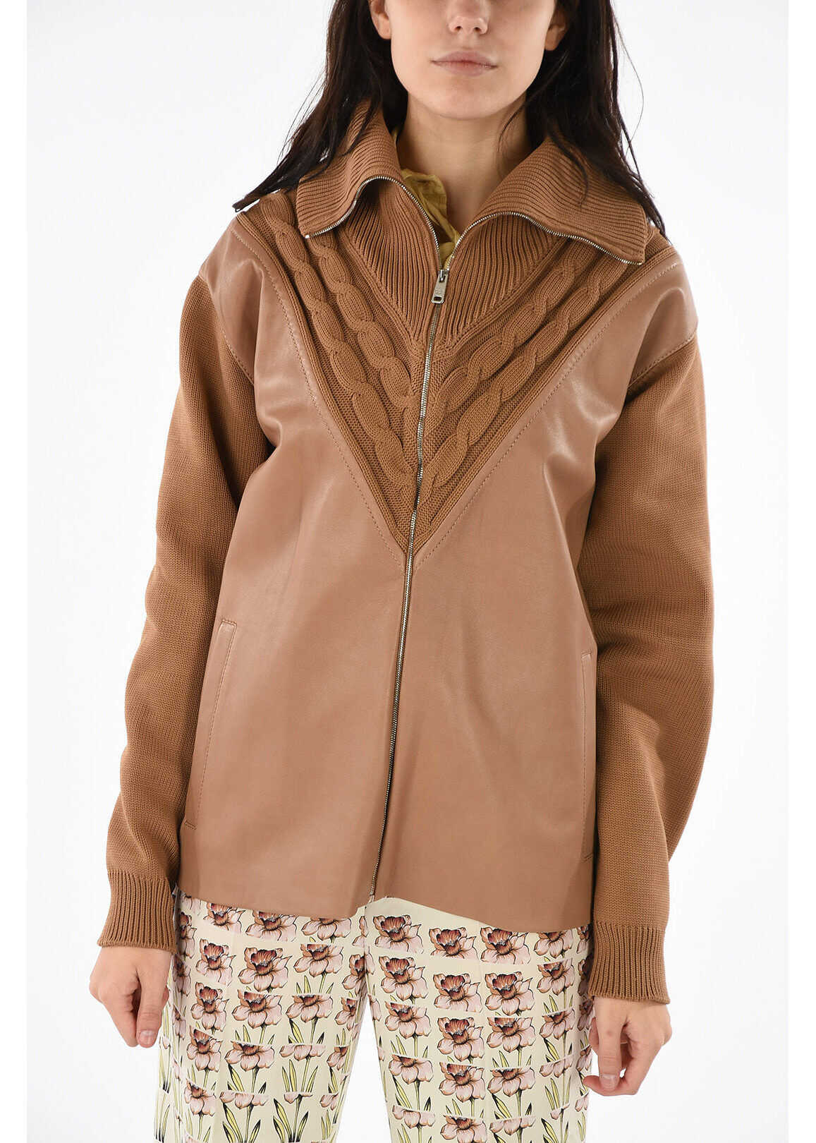 Prada leather applications cardigan BROWN