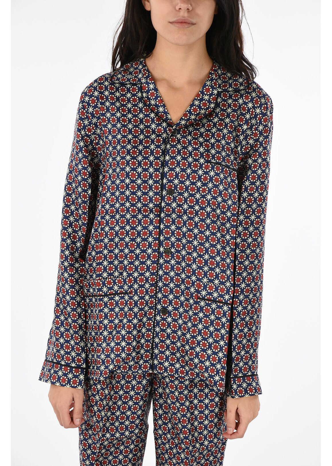 silk abstract print pajamas thumbnail