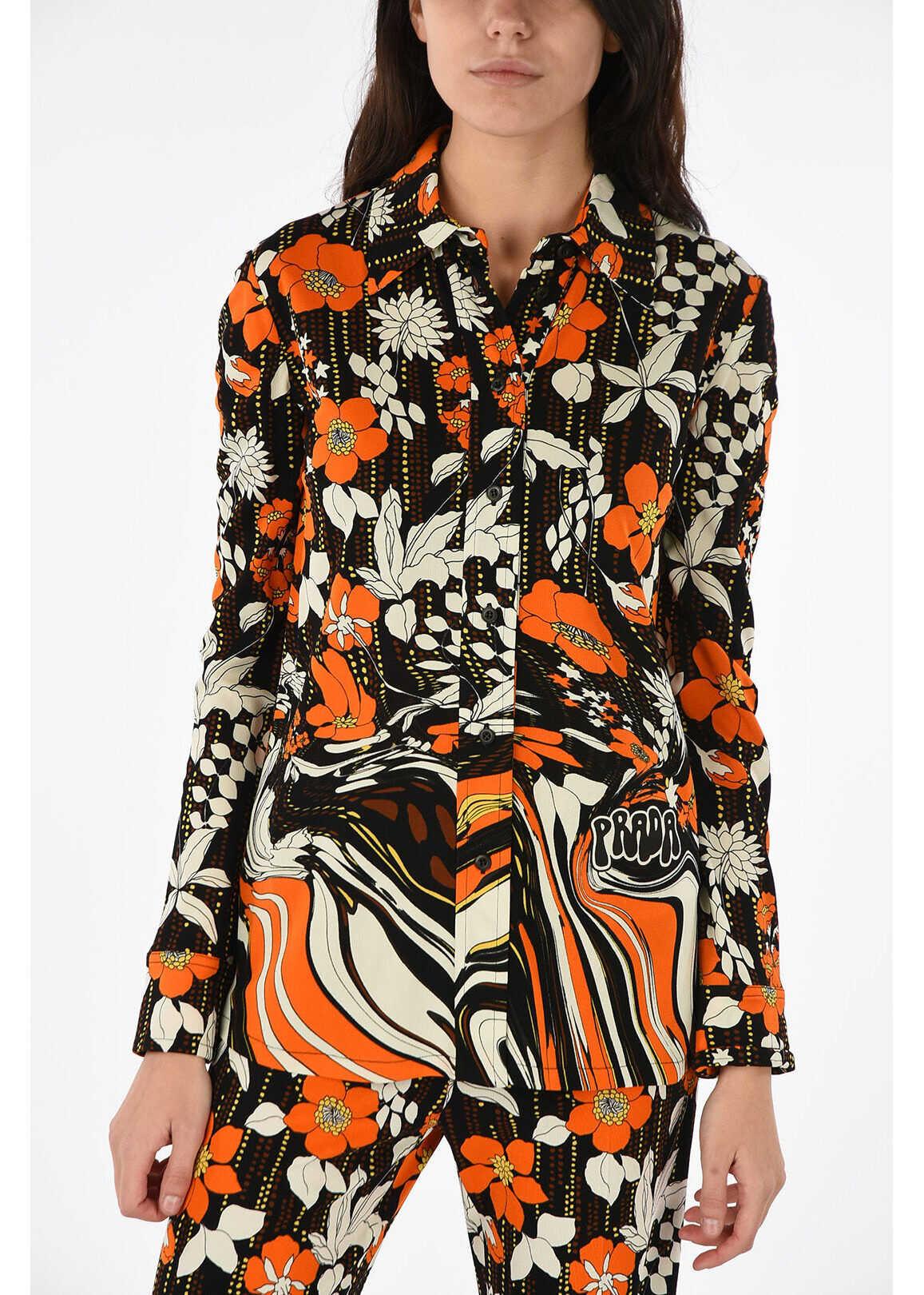 Prada floral-print long sleeve classic collar blouse ORANGE