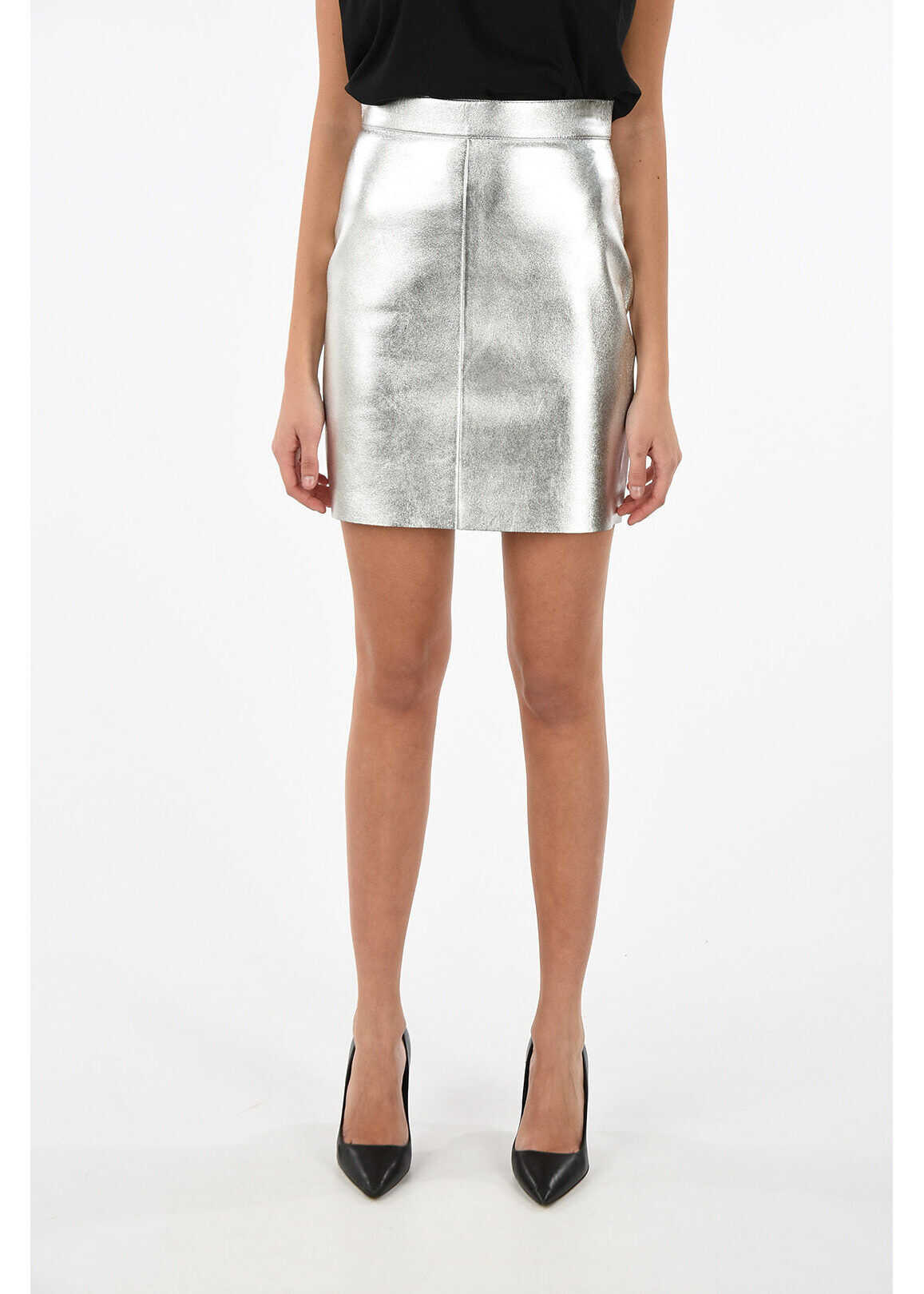 Céline back-zip fastening leather pencil skirt SILVER