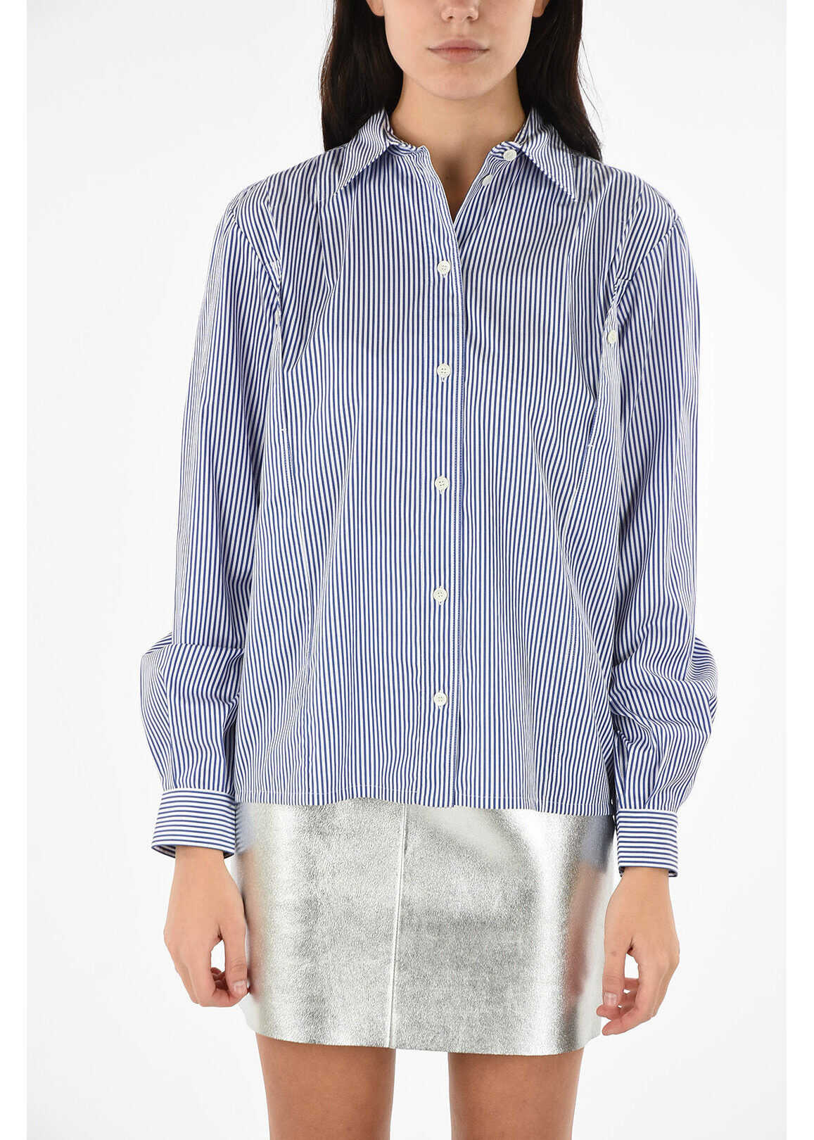 Céline awning striped long sleeve blouse BLUE