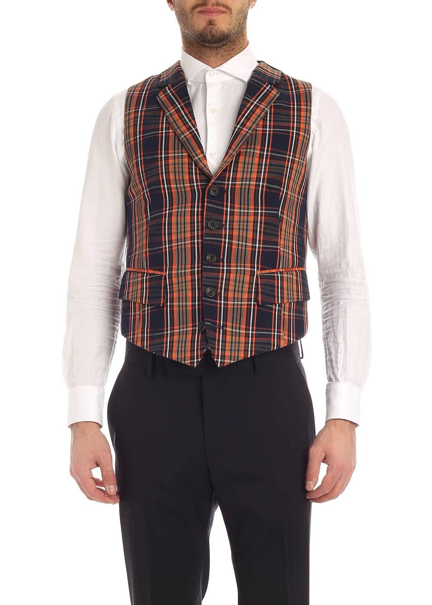Vivienne Westwood Checked Waistcoat In Blue And Orange Blue
