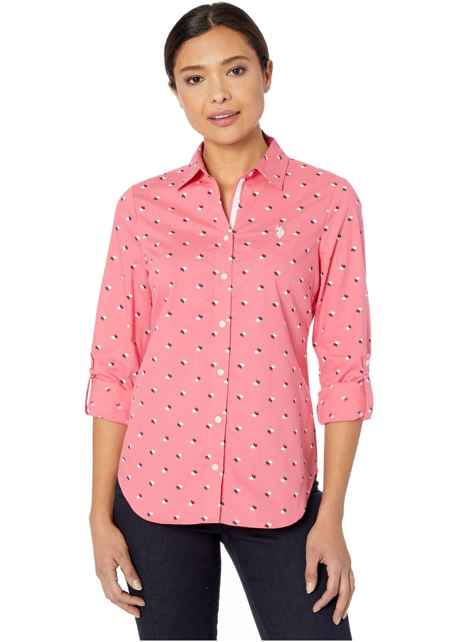 U.S. POLO ASSN. Slub Floral Woven Shirt Sour Cherry