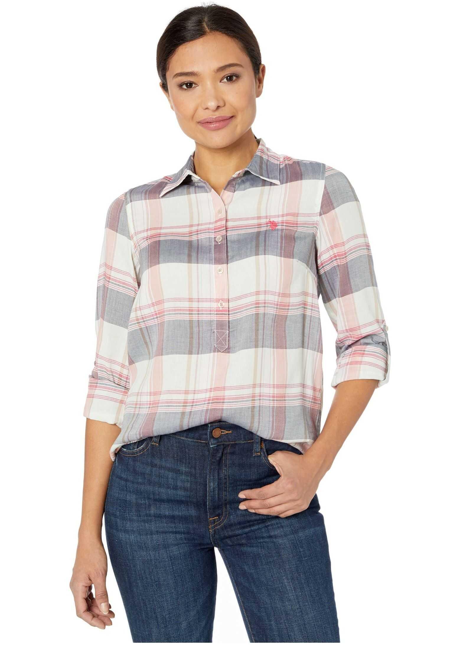U.S. POLO ASSN. Woven Plaid Shirt Evening Blue