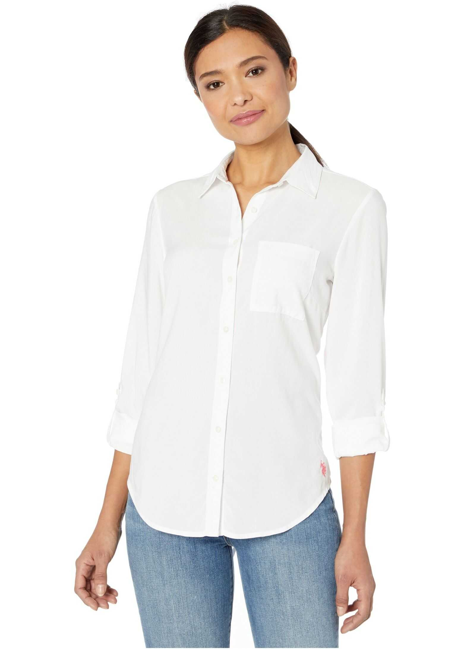 U.S. POLO ASSN. Solid Woven Lace Back Shirt Optic White
