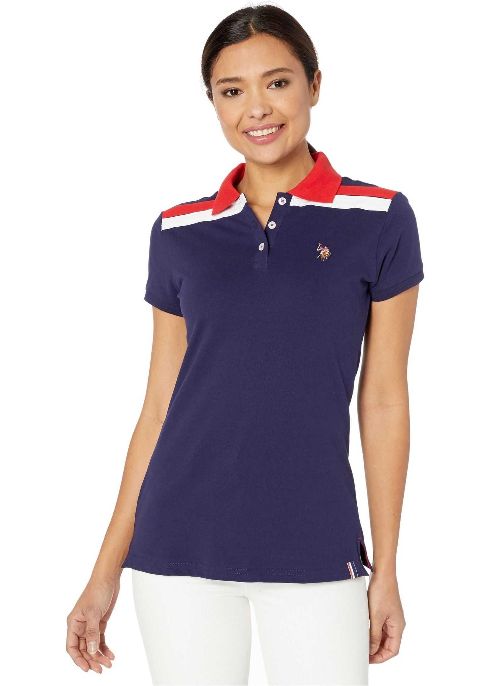 U.S. POLO ASSN. Pique Shoulder Stripe Polo Evening Blue