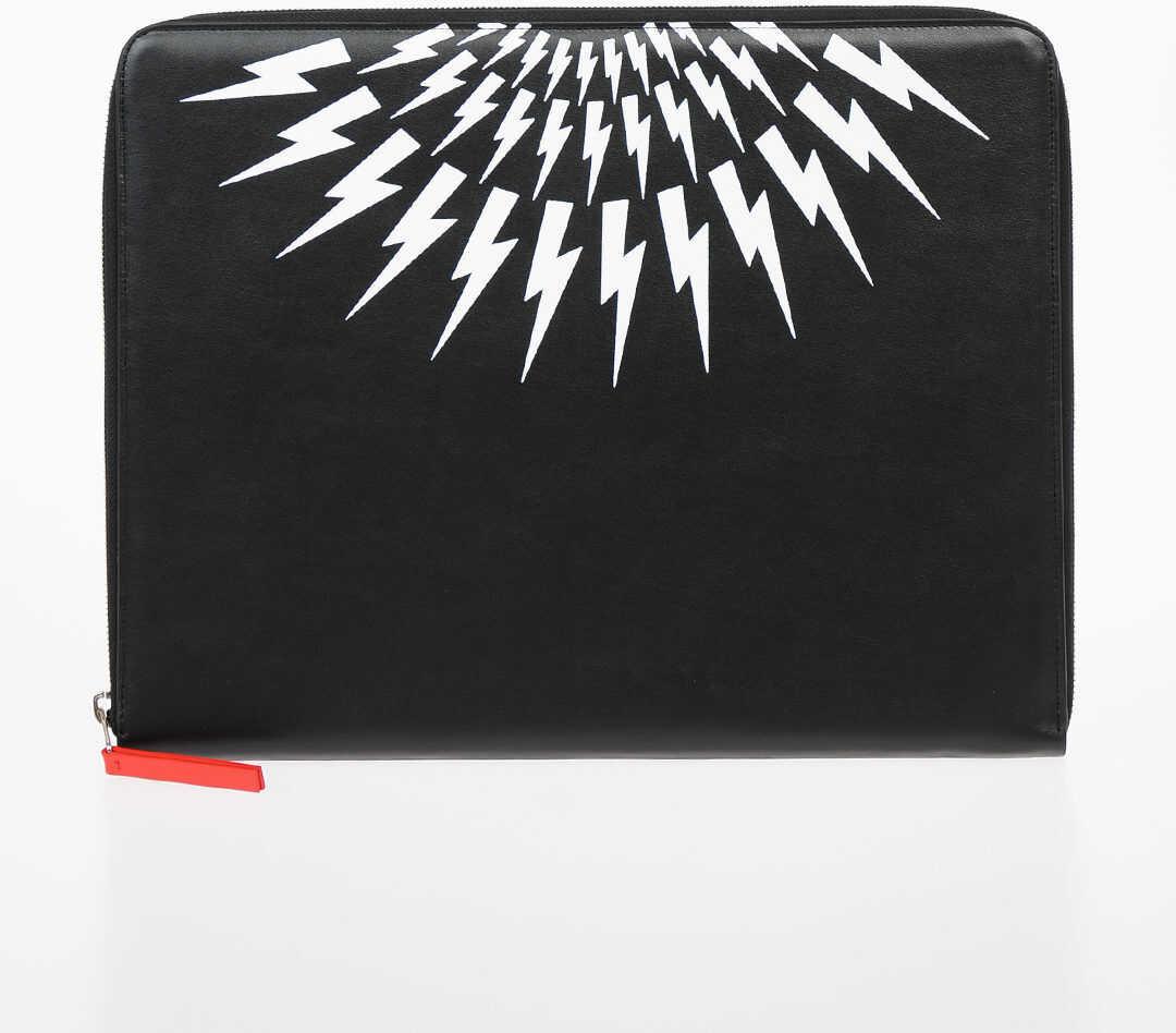 Neil Barrett Leather THUNDERBOLT FAIRISLE Briefcase BLACK imagine b-mall.ro