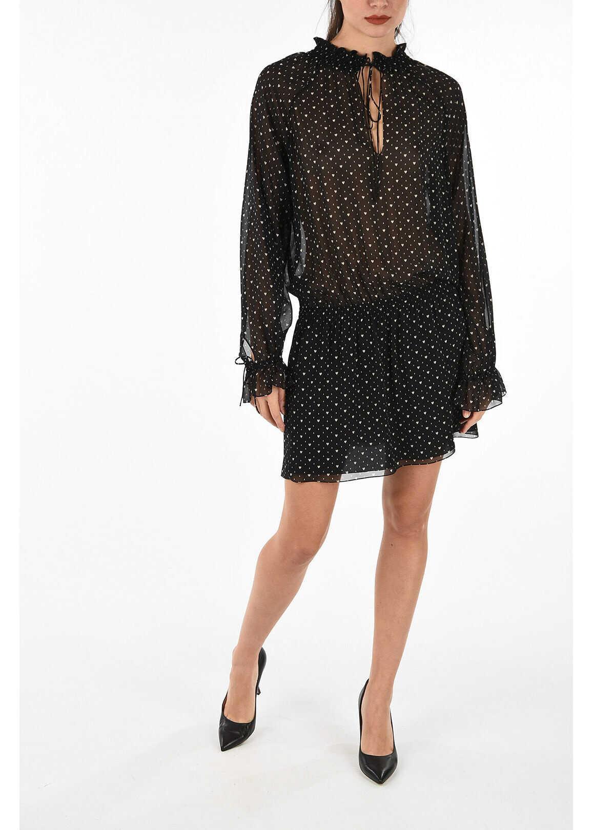 Saint Laurent peasant sleeve print silk mini dress BLACK