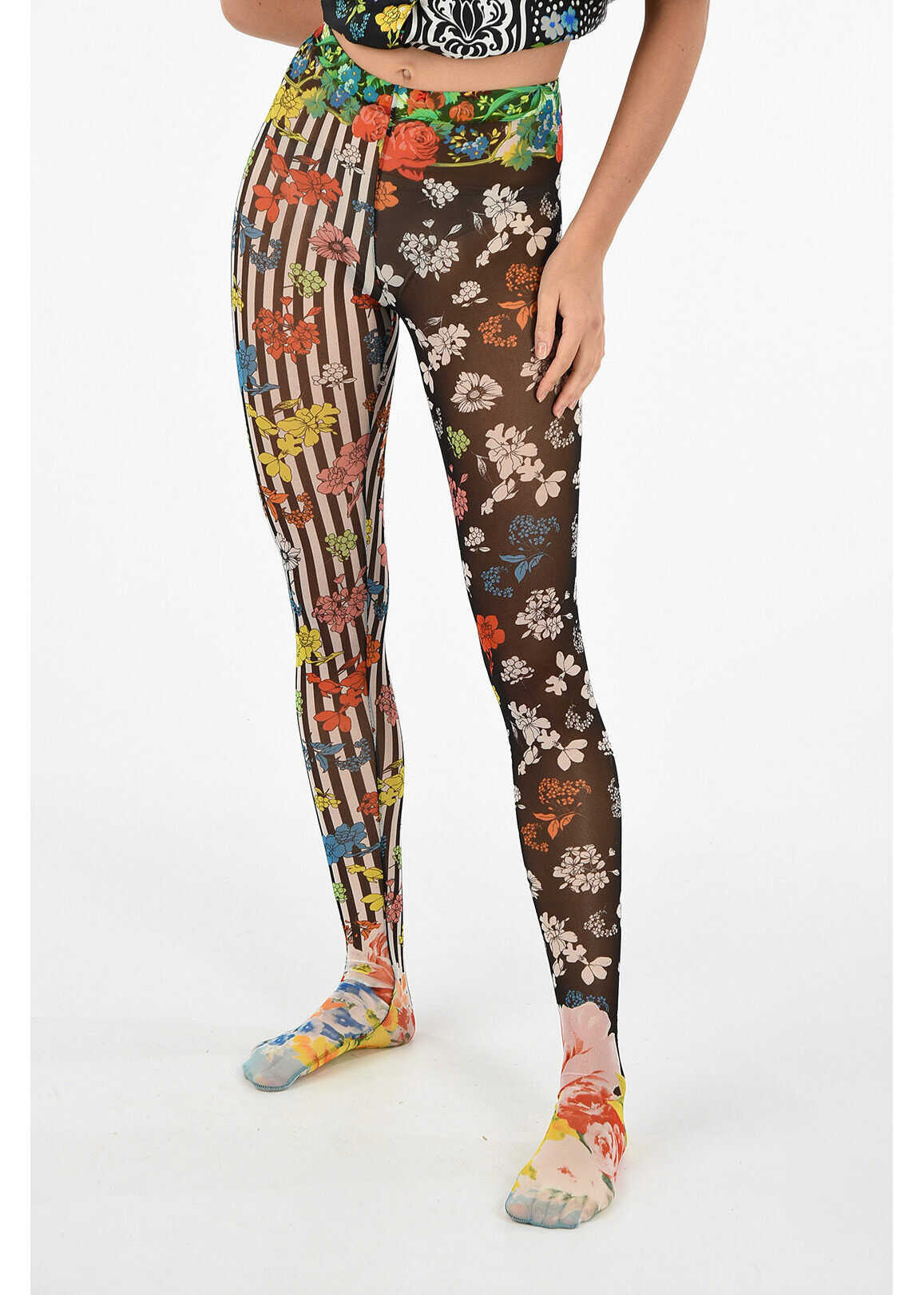 Versace floral-print slim fit leggings MULTICOLOR