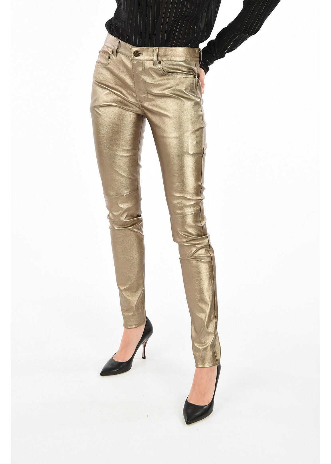 Saint Laurent leather 5 pocket pants GOLD