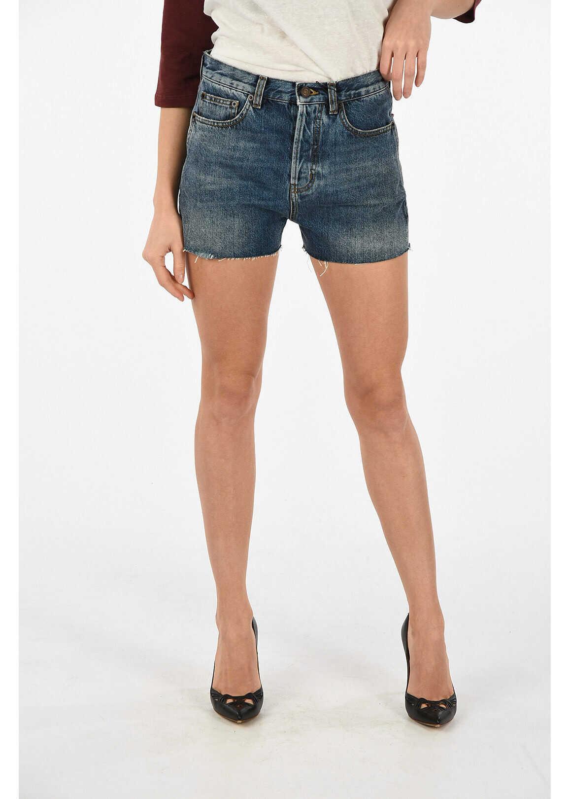 Saint Laurent stone washed shorts BLUE