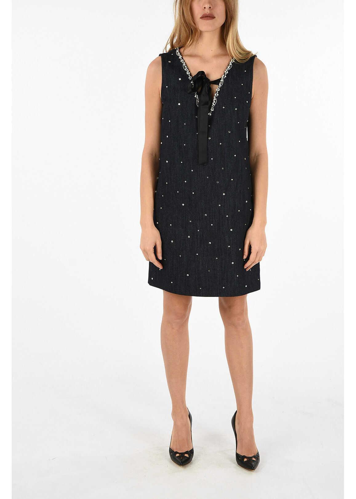 Miu Miu denim dress with jewel applications BLUE