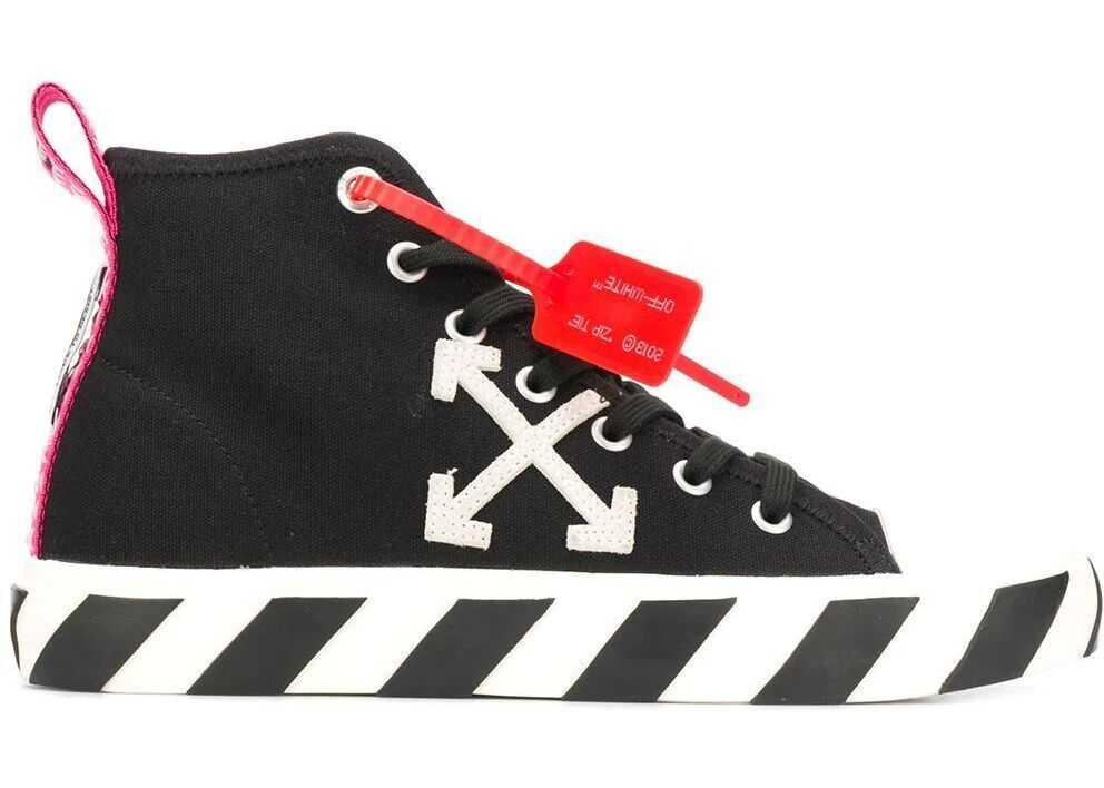 Off-White Cotton Hi Top Sneakers BLACK