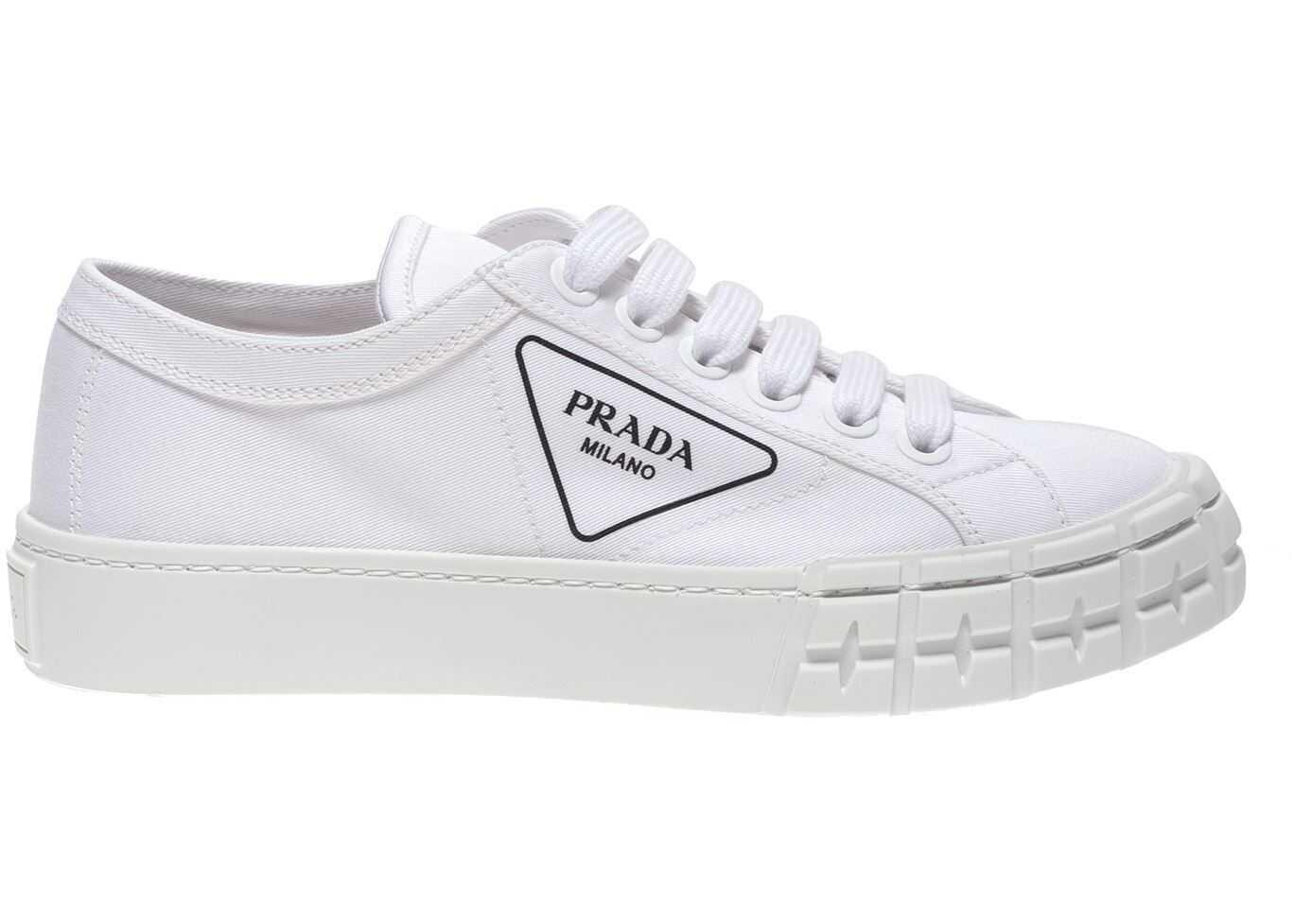 Prada Branded Gabardine Sneakers In White White