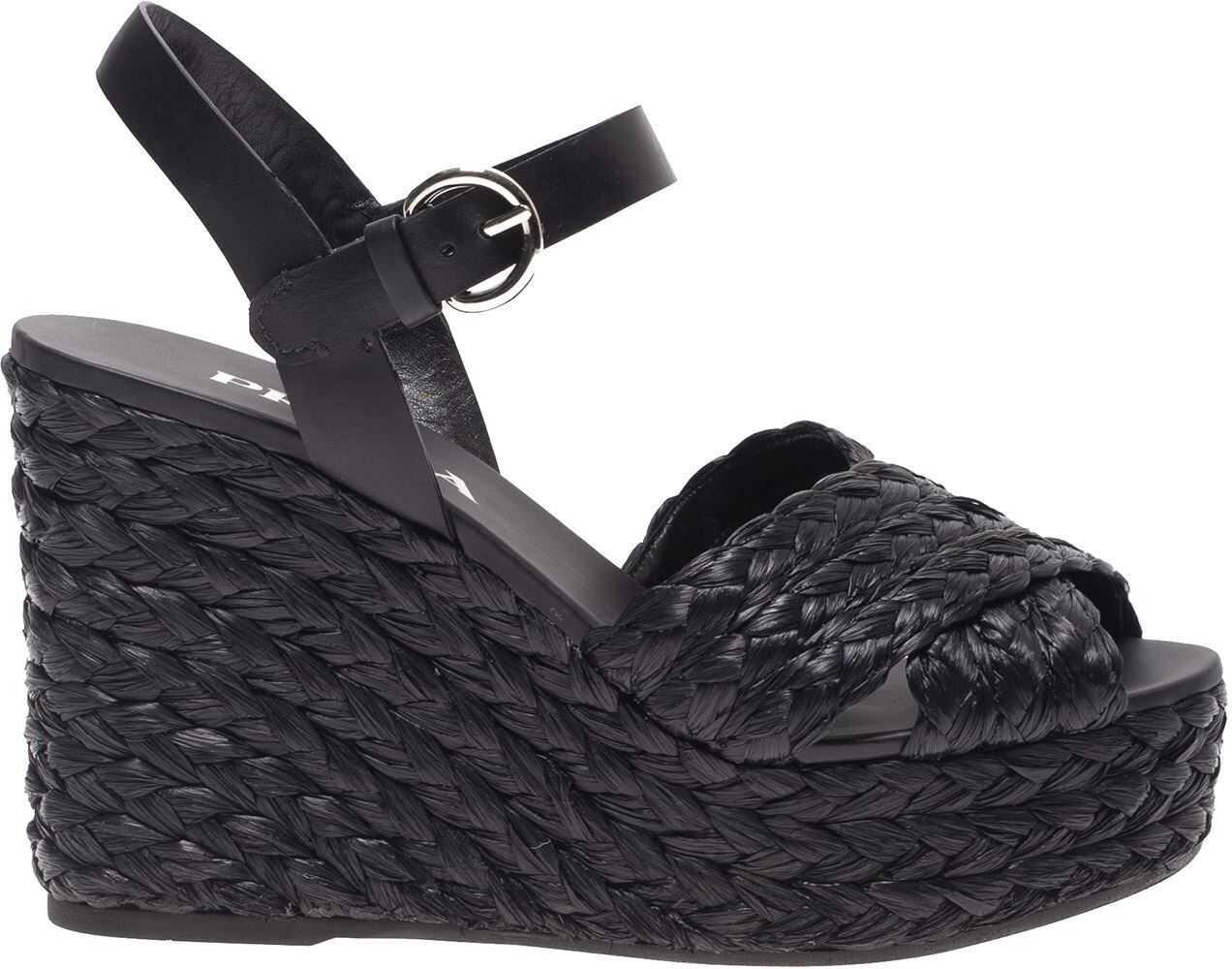 Prada Raffia Wedge Sandals In Black Black