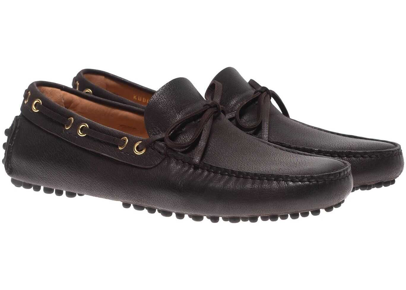 Car Shoe Driving Loafers In Ebony Color Leather KUD006 3AI0 F0192 Brown imagine b-mall.ro