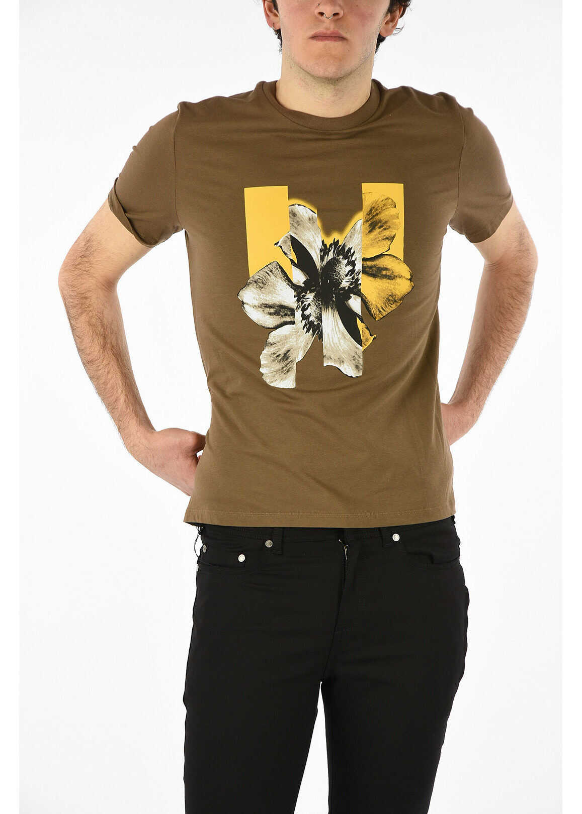 Neil Barrett Stretchy Cotton FLORAL T-shirt BROWN