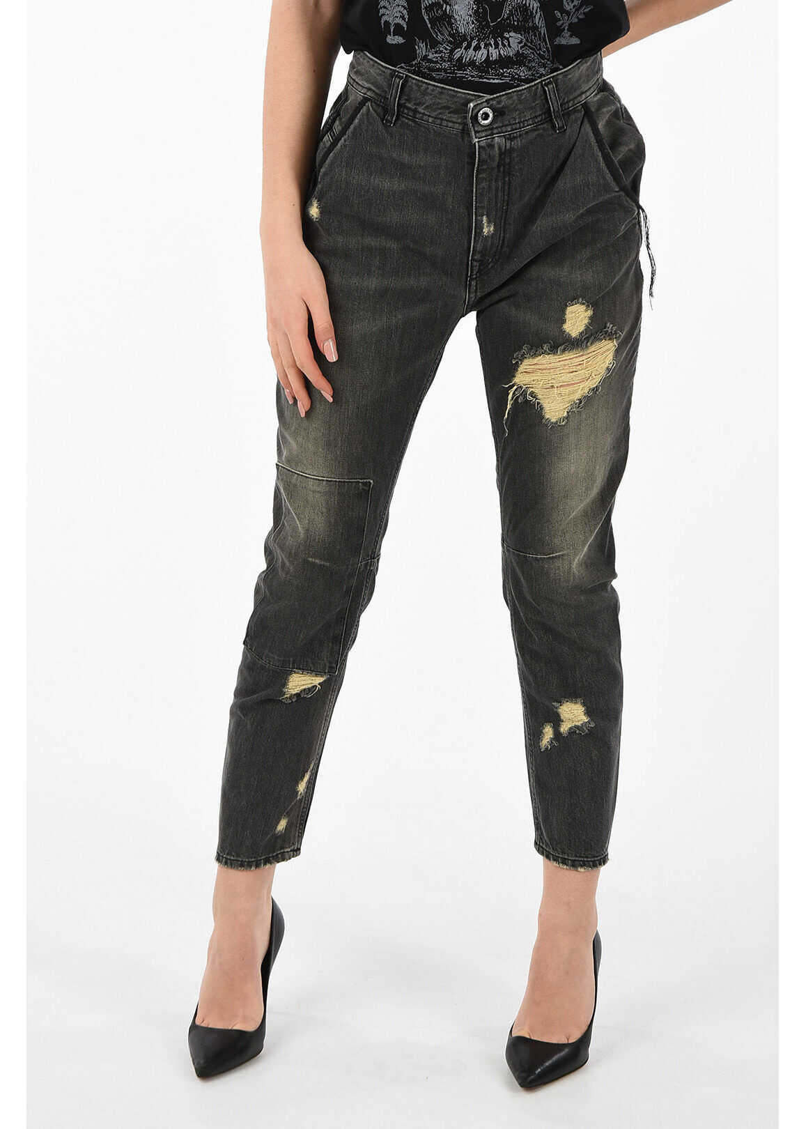 Diesel BLACK GOLD 14 cm stone washed CARROT distressed jeans GRAY