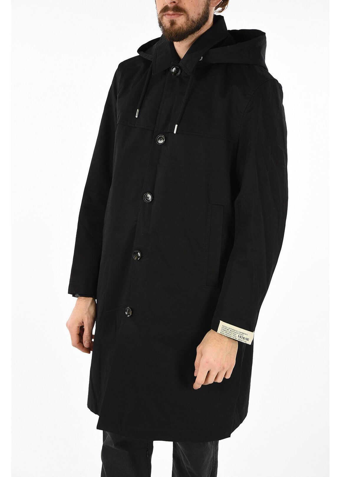Diesel Hooded J-HARUO Coat BLACK