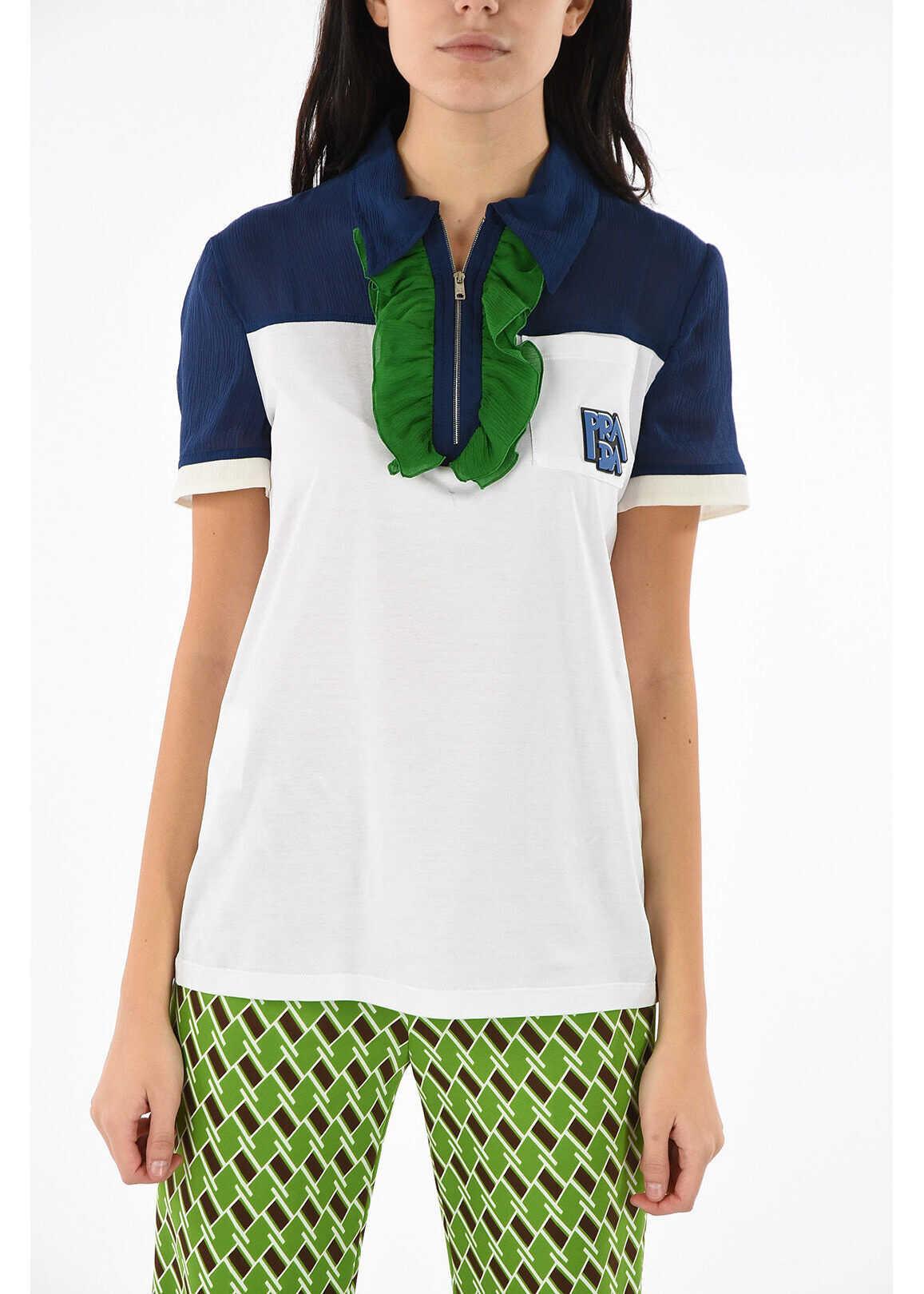 Prada color block and volant polo shirt WHITE