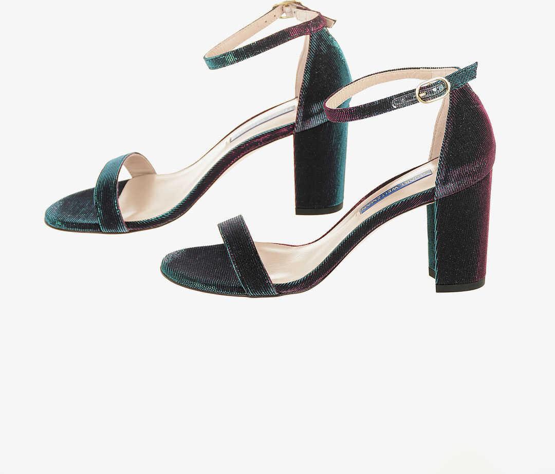 Stuart Weitzman Iridescent NEARLYNUDE Block Heel Sandals 8 cm MULTICOLOR