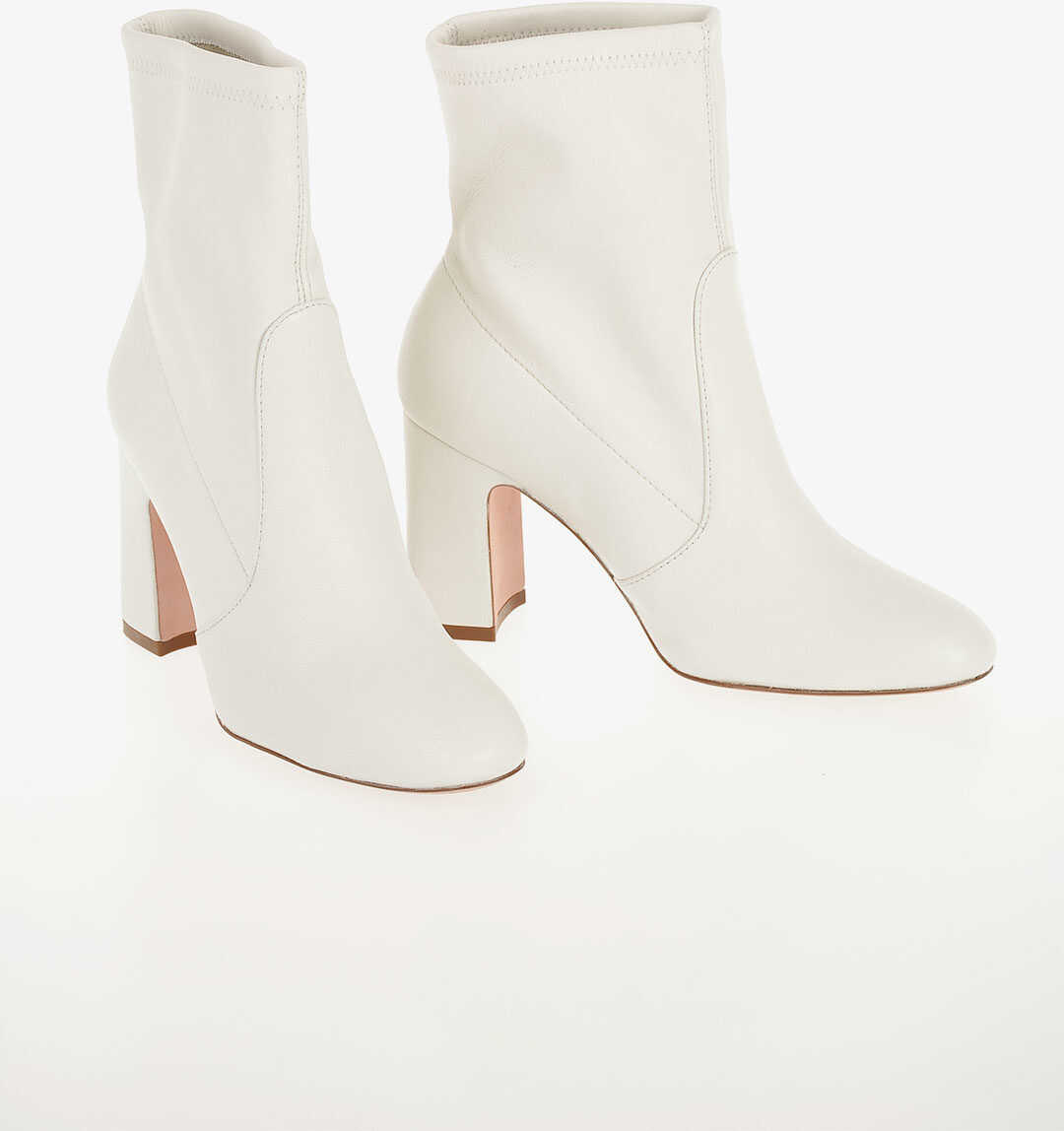 Stuart Weitzman Leather NIKI 90 Booties 9 cm WHITE