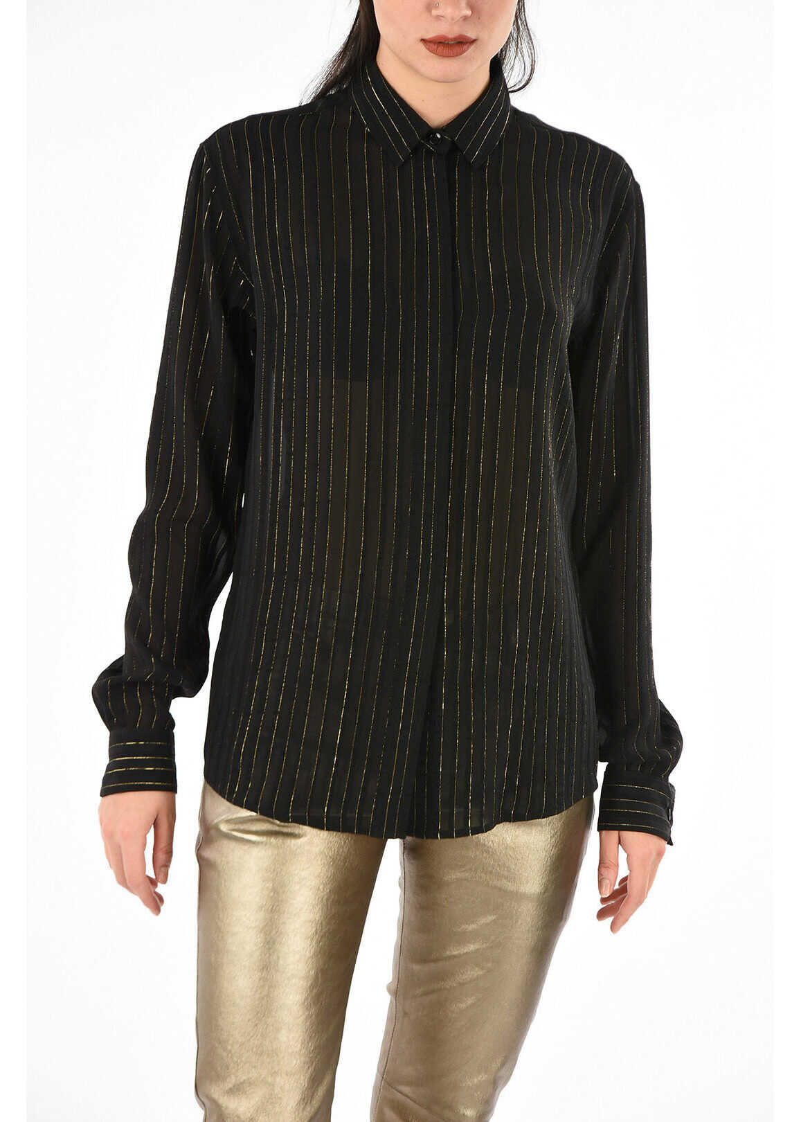 Saint Laurent awning striped silk long sleeve blouse BLACK
