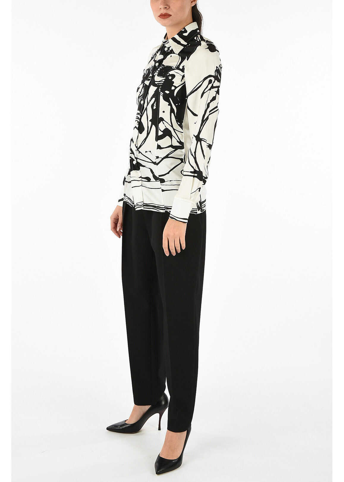 Céline wool low-crotch flared pants BLACK