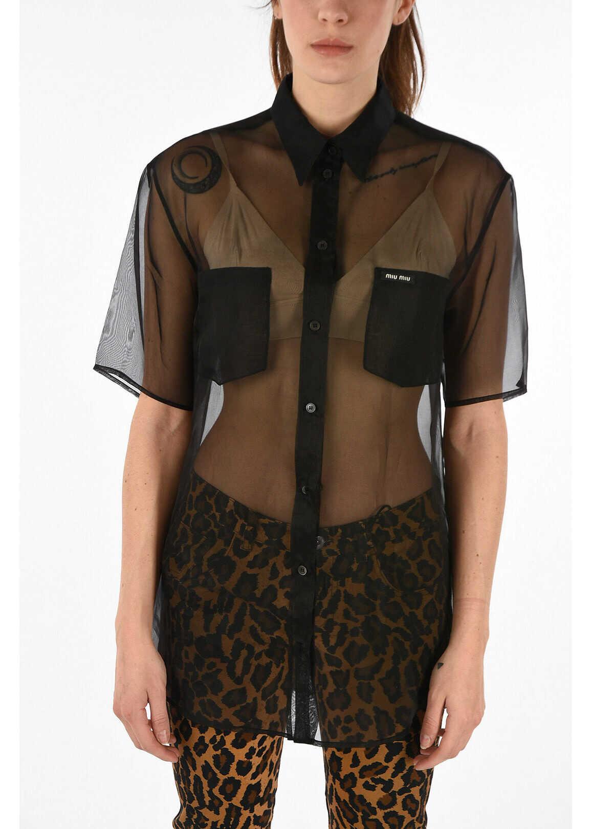 Miu Miu silk short sleeve blouse BLACK